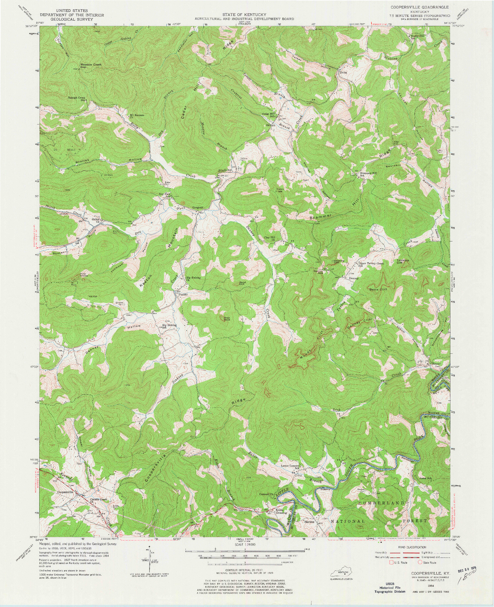 USGS 1:24000-SCALE QUADRANGLE FOR COOPERSVILLE, KY 1954
