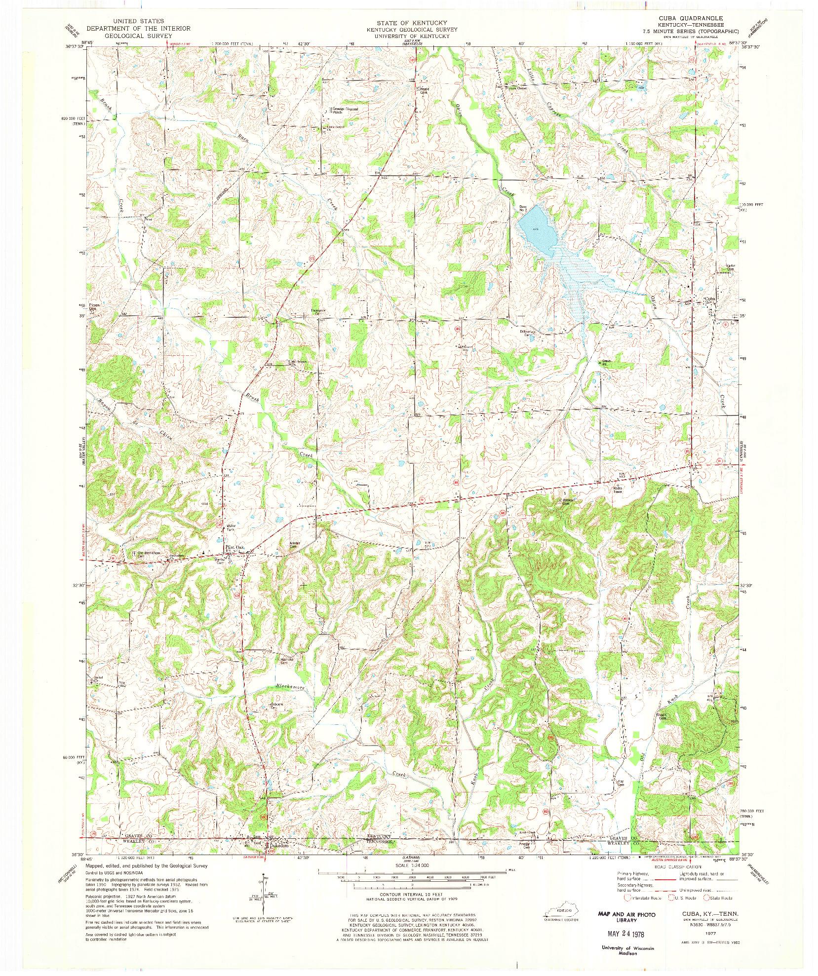 USGS 1:24000-SCALE QUADRANGLE FOR CUBA, KY 1977