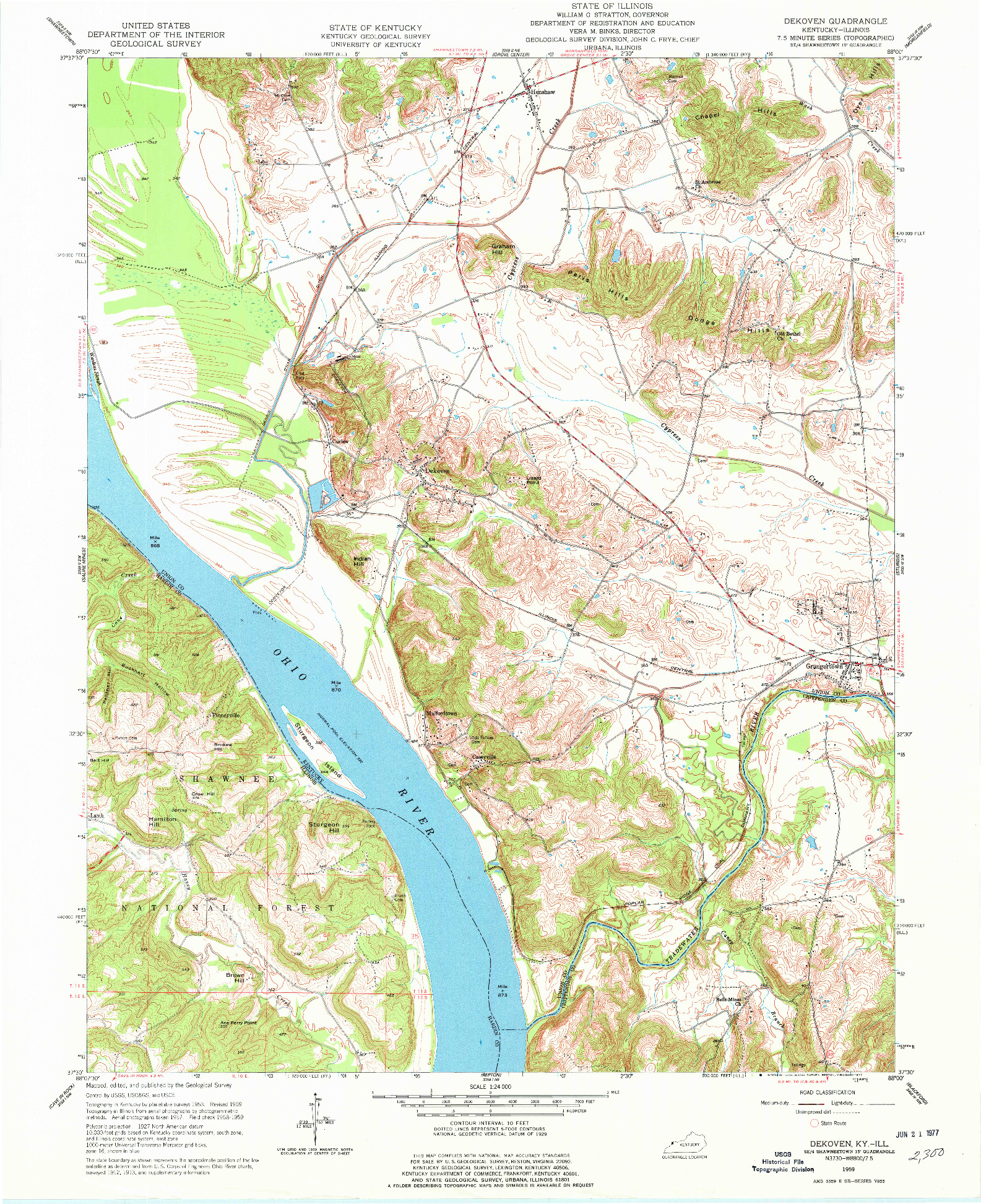USGS 1:24000-SCALE QUADRANGLE FOR DEKOVEN, KY 1959