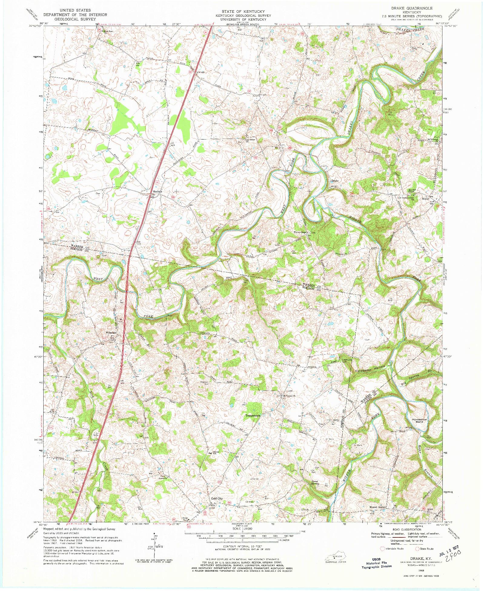 USGS 1:24000-SCALE QUADRANGLE FOR DRAKE, KY 1968