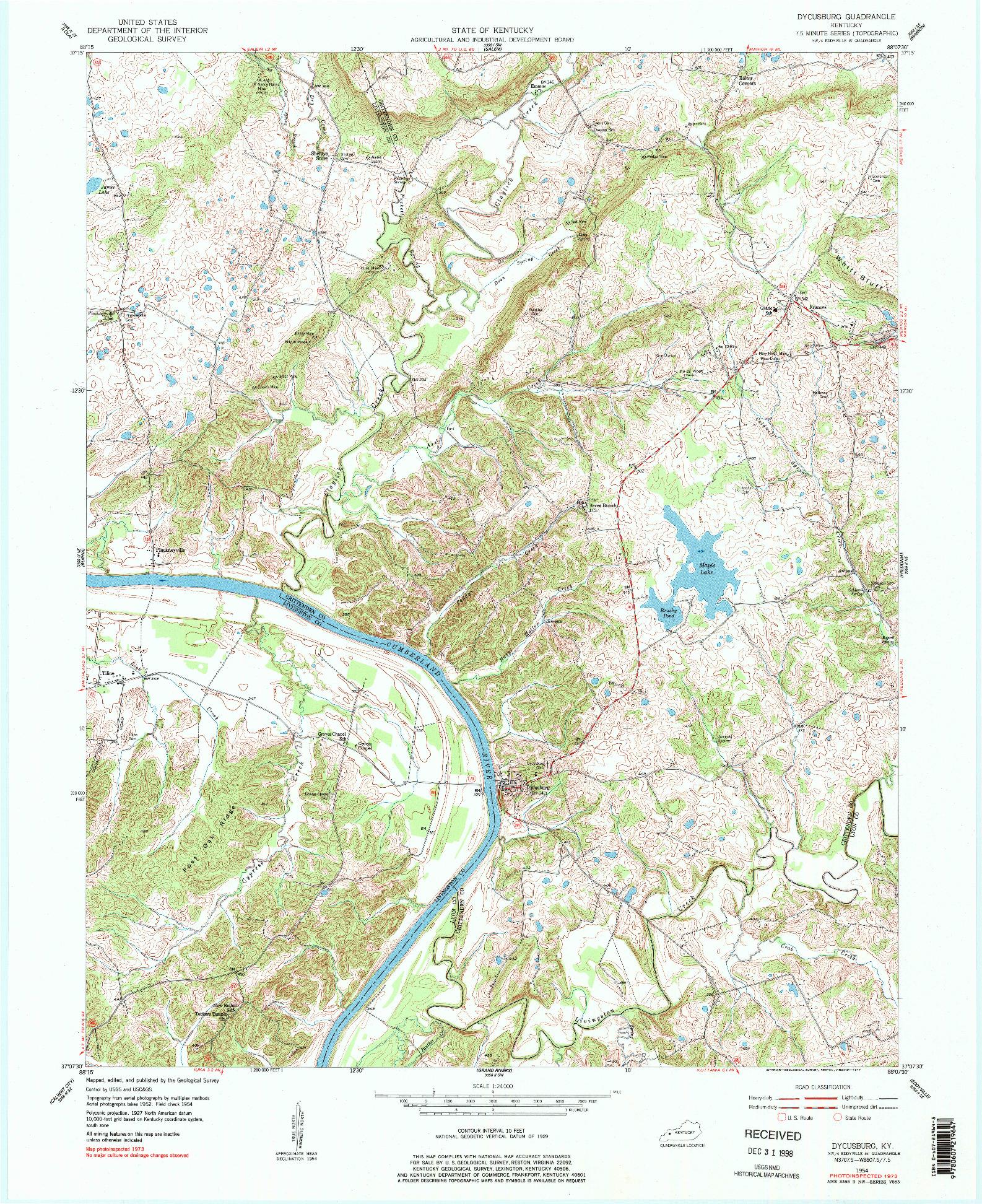 USGS 1:24000-SCALE QUADRANGLE FOR DYCUSBURG, KY 1954