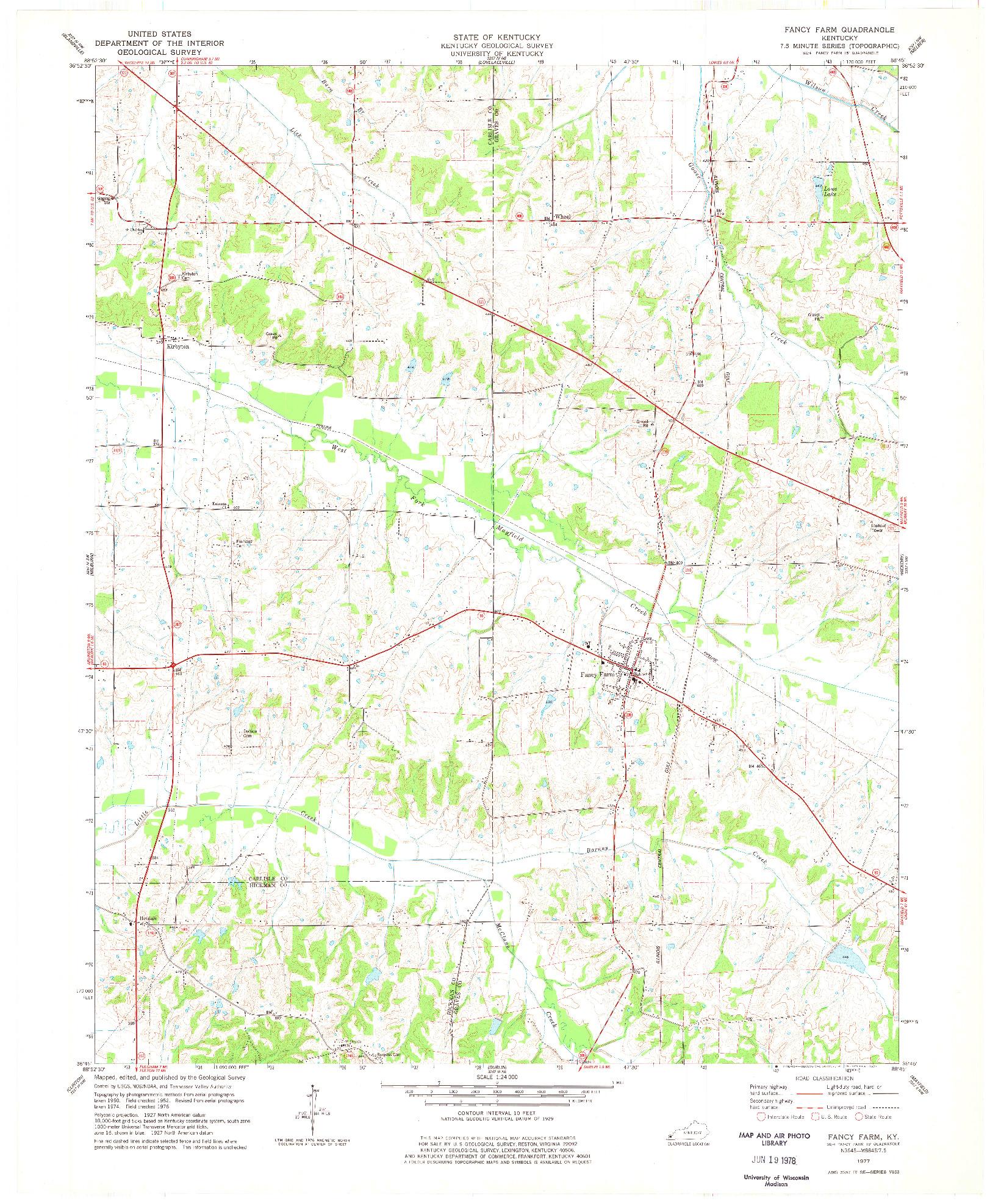 USGS 1:24000-SCALE QUADRANGLE FOR FANCY FARM, KY 1977