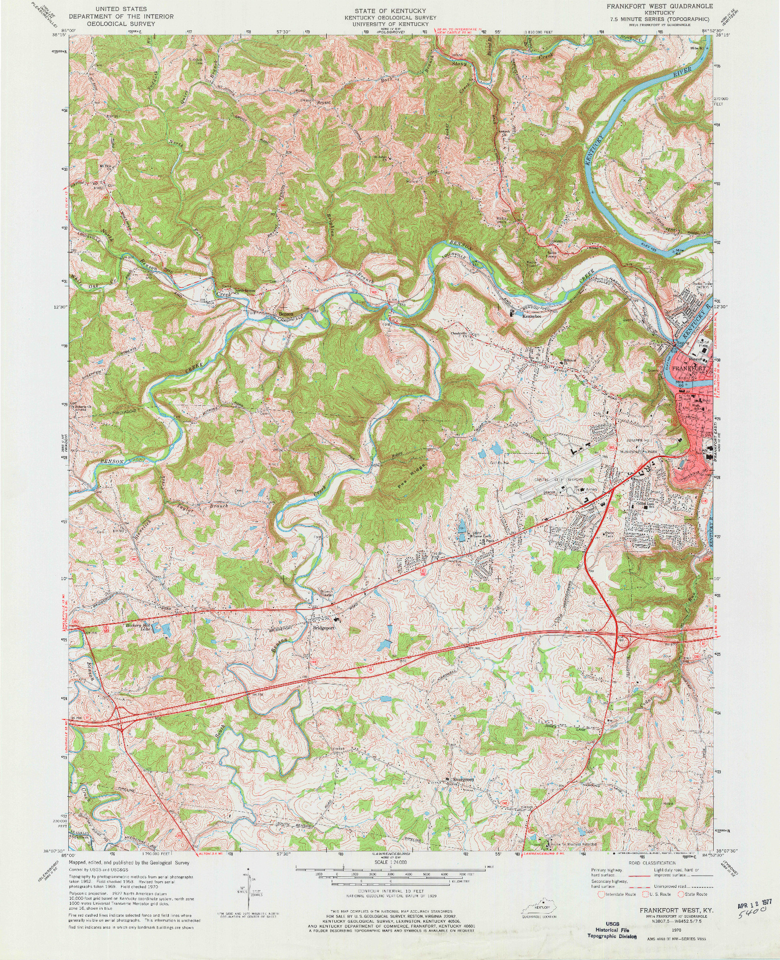 USGS 1:24000-SCALE QUADRANGLE FOR FRANKFORT WEST, KY 1970