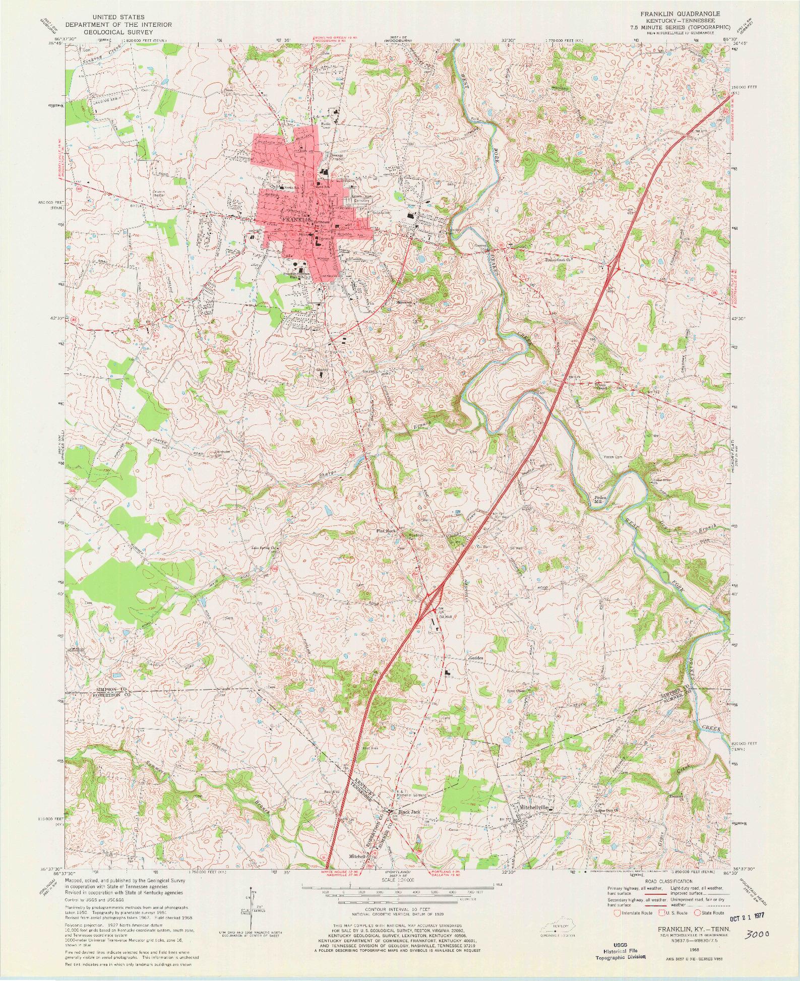 USGS 1:24000-SCALE QUADRANGLE FOR FRANKLIN, KY 1968