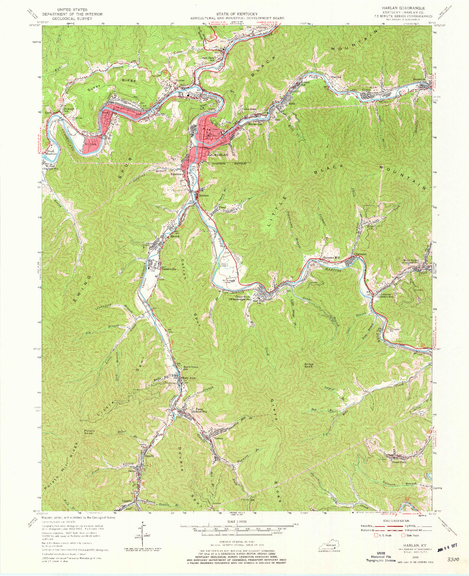 USGS 1:24000-SCALE QUADRANGLE FOR HARLAN, KY 1954