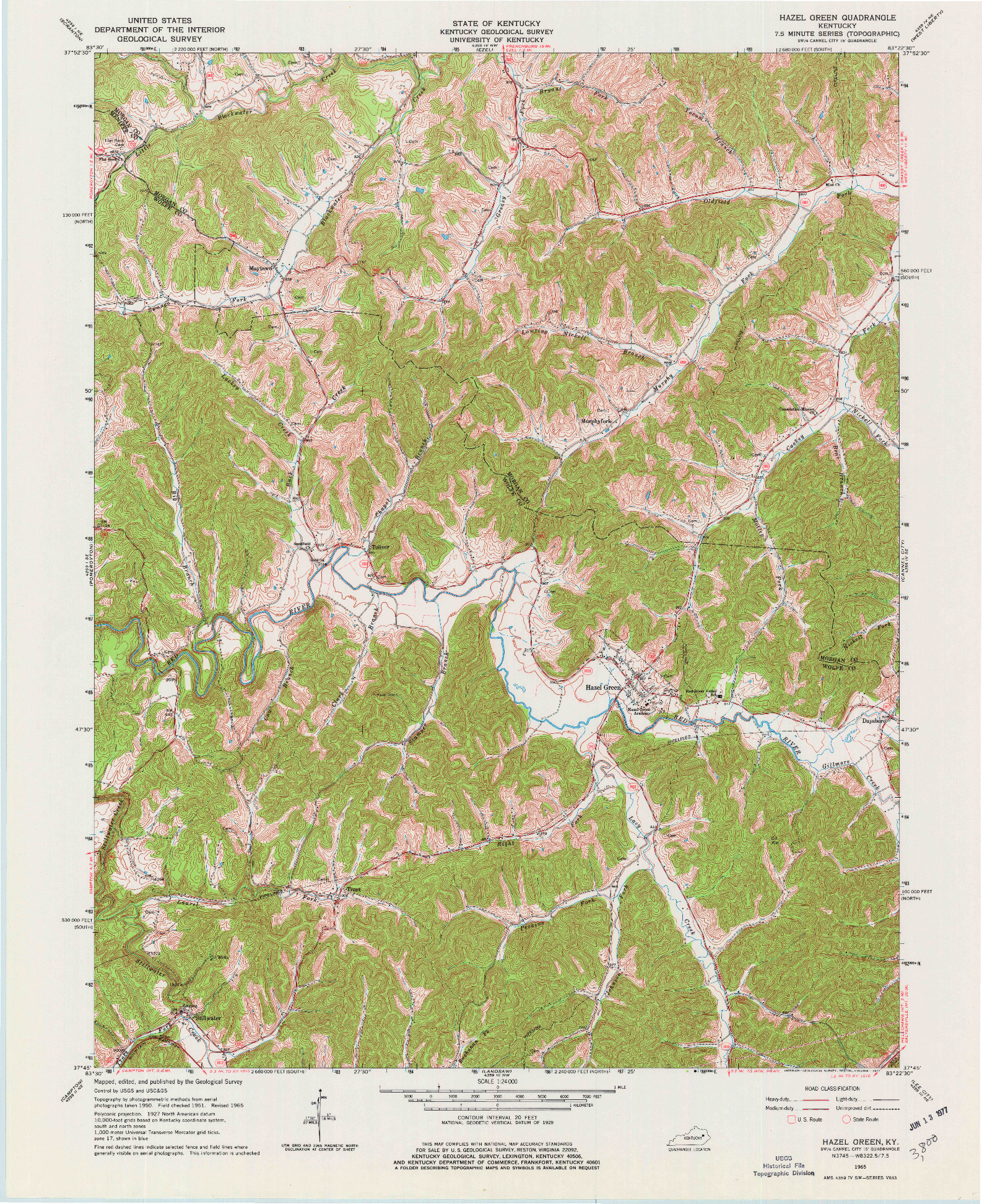 USGS 1:24000-SCALE QUADRANGLE FOR HAZEL GREEN, KY 1965