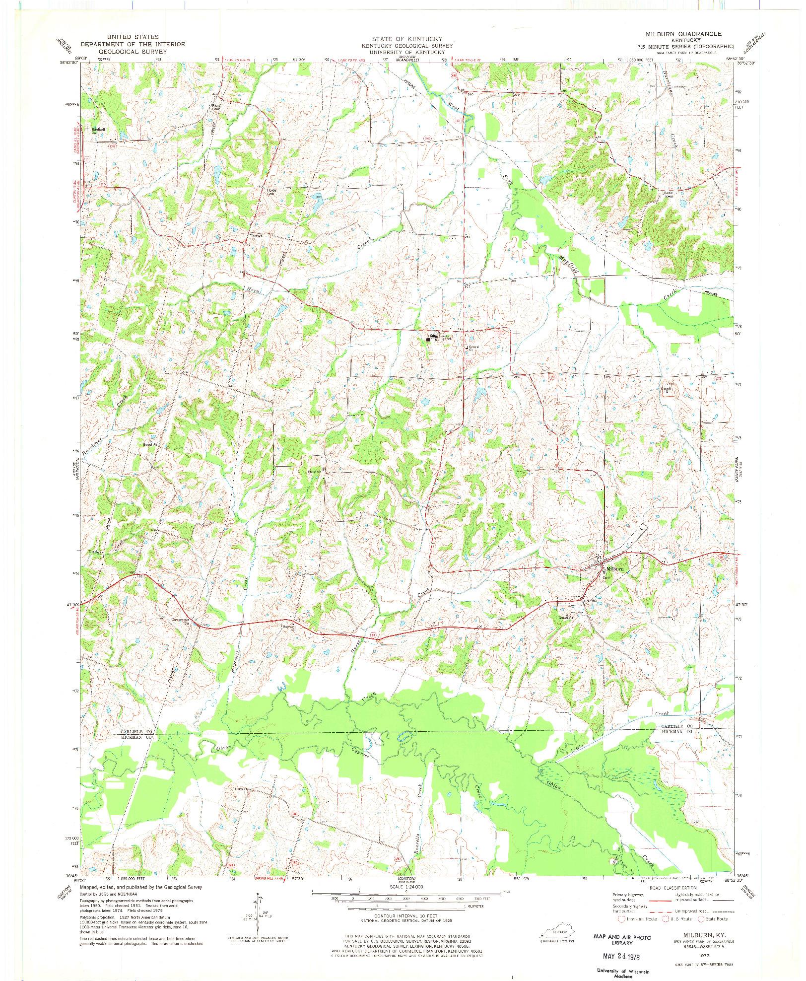 USGS 1:24000-SCALE QUADRANGLE FOR MILBURN, KY 1977