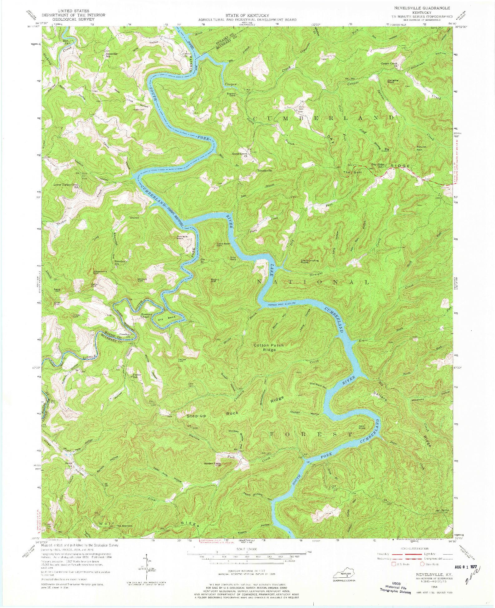 USGS 1:24000-SCALE QUADRANGLE FOR NEVELSVILLE, KY 1954