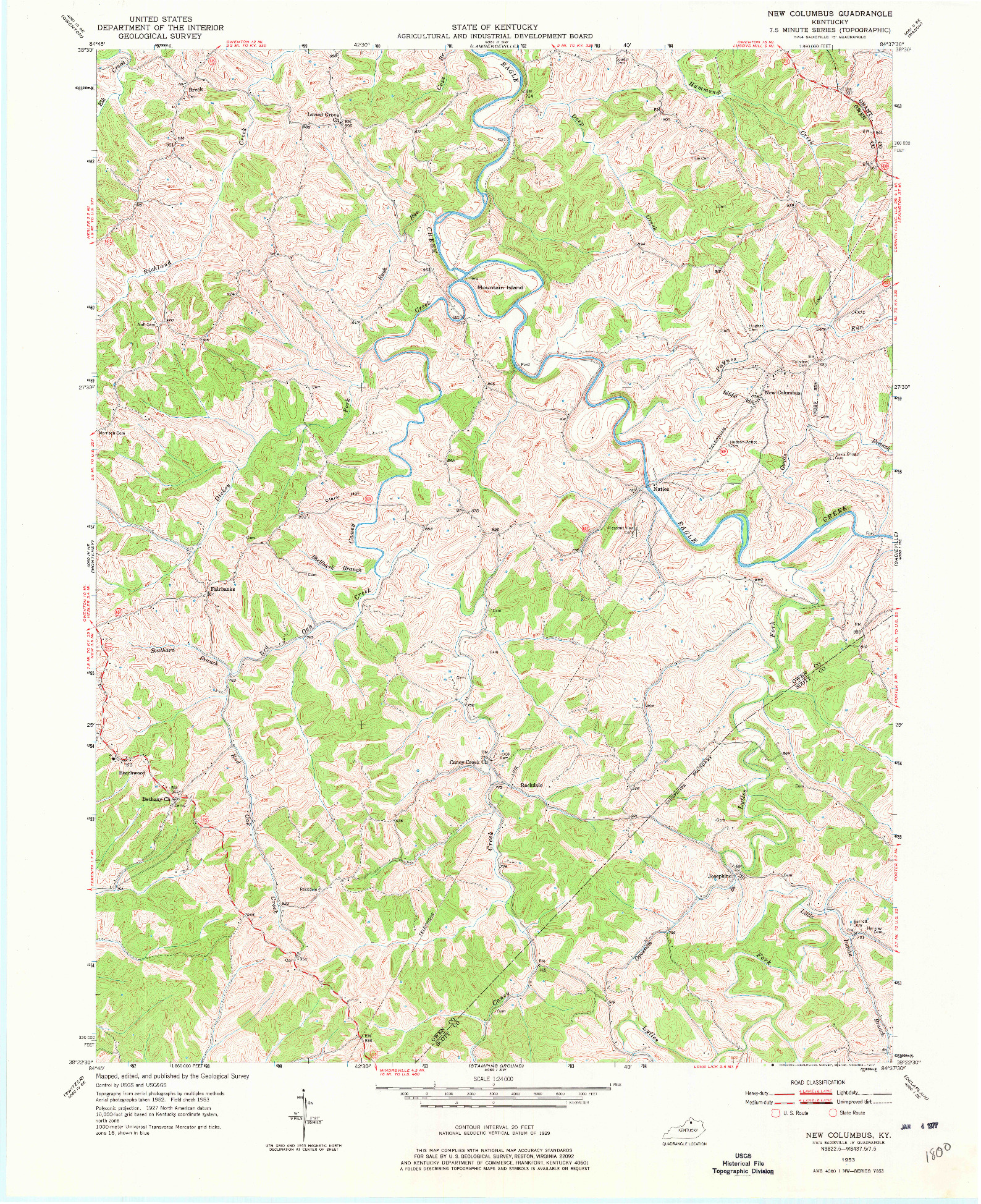 USGS 1:24000-SCALE QUADRANGLE FOR NEW COLUMBUS, KY 1953