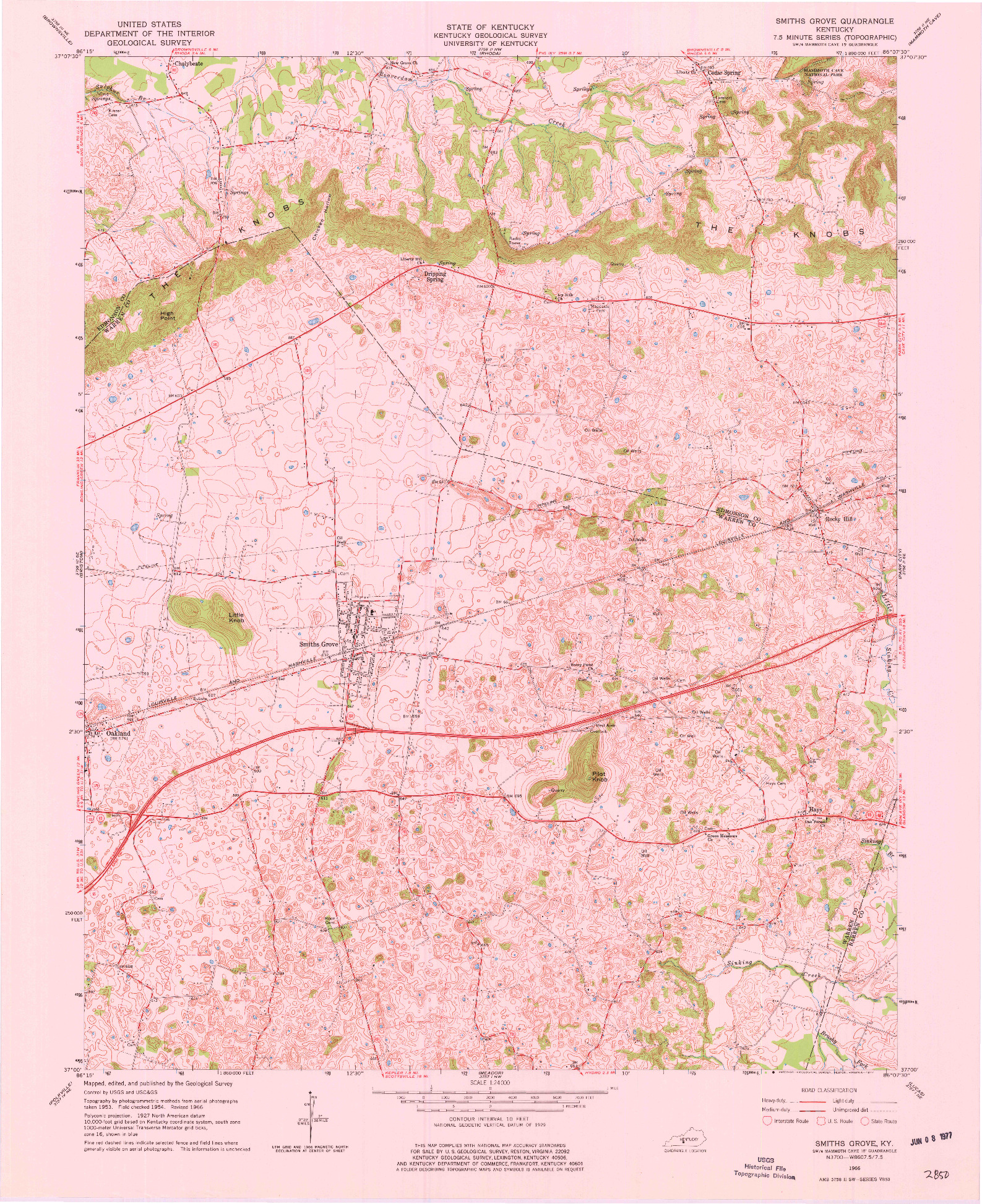 USGS 1:24000-SCALE QUADRANGLE FOR SMITHS GROVE, KY 1966