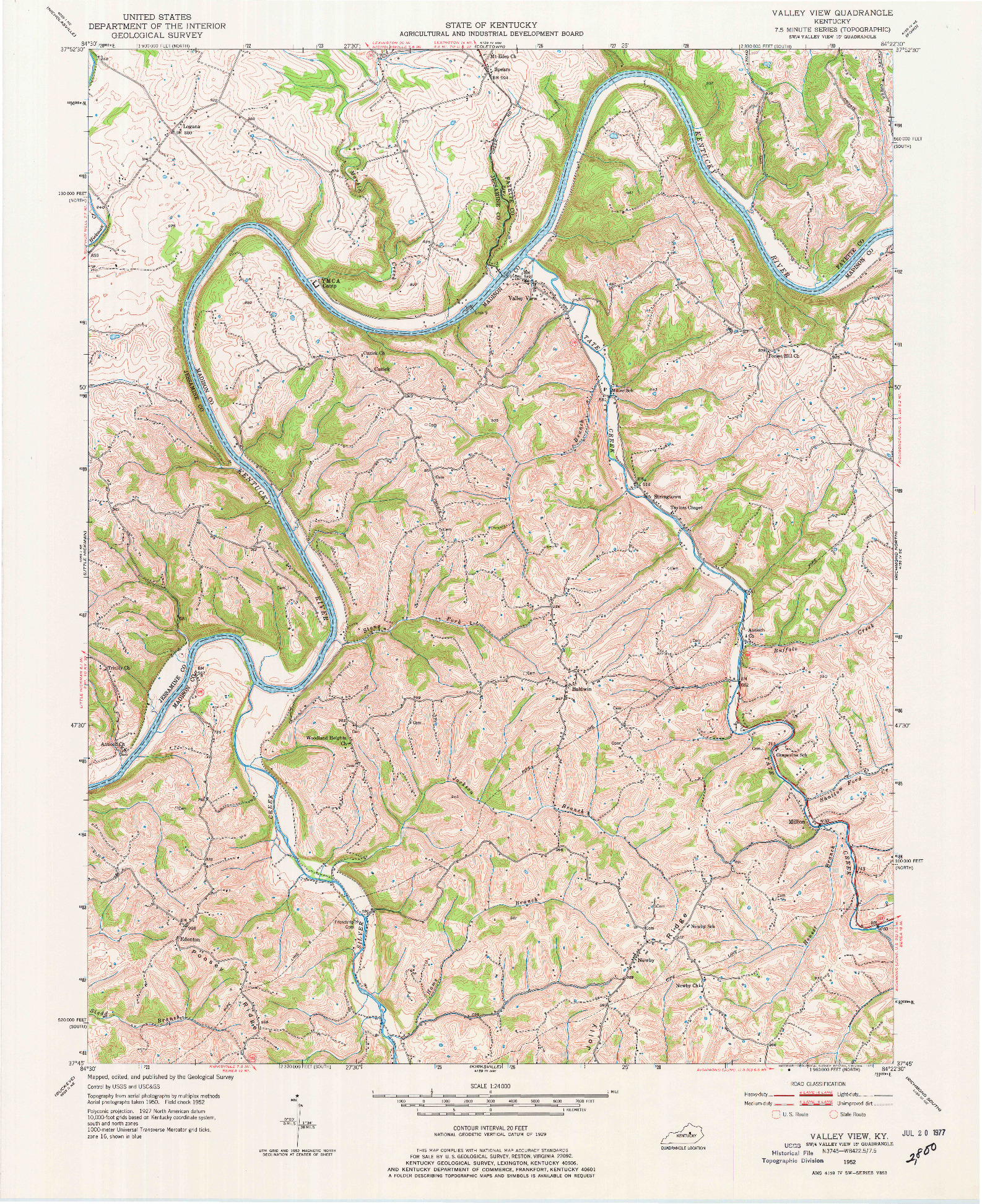 USGS 1:24000-SCALE QUADRANGLE FOR VALLEY VIEW, KY 1952