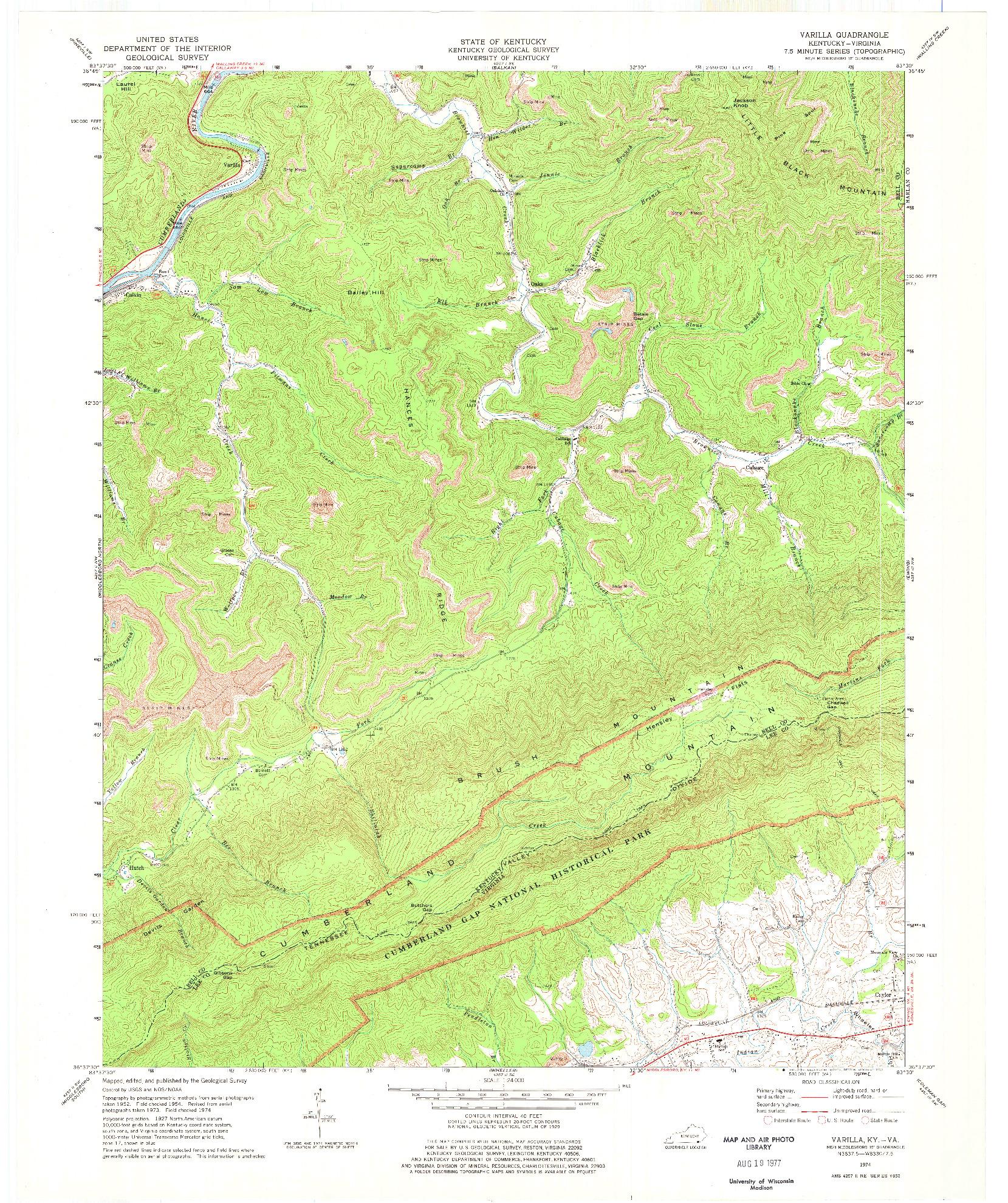 USGS 1:24000-SCALE QUADRANGLE FOR VARILLA, KY 1974