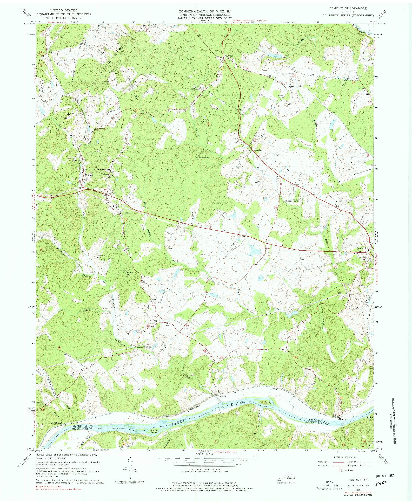 USGS 1:24000-SCALE QUADRANGLE FOR ESMONT, VA 1967