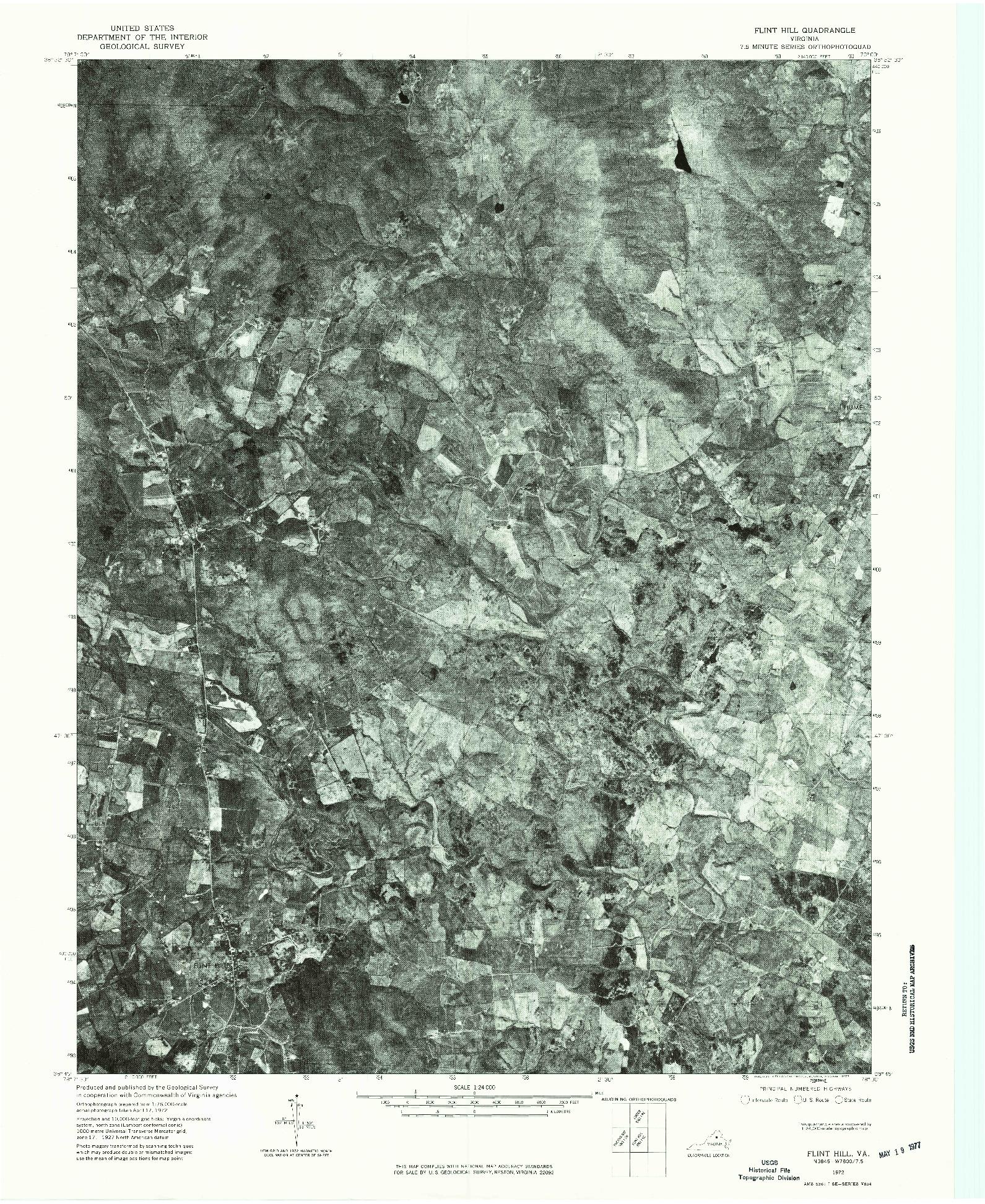 USGS 1:24000-SCALE QUADRANGLE FOR FLINT HILL, VA 1972