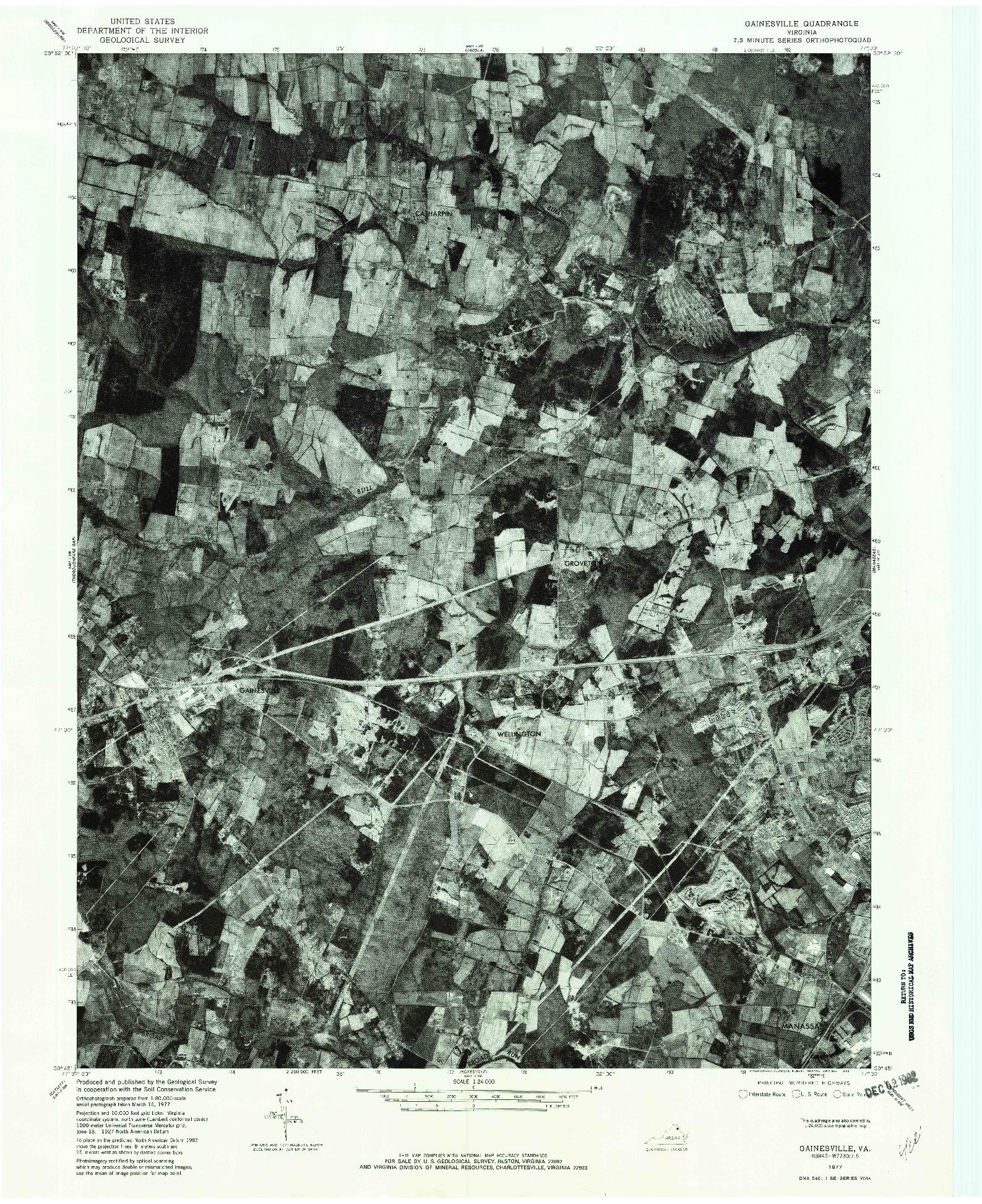USGS 1:24000-SCALE QUADRANGLE FOR GAINESVILLE, VA 1977