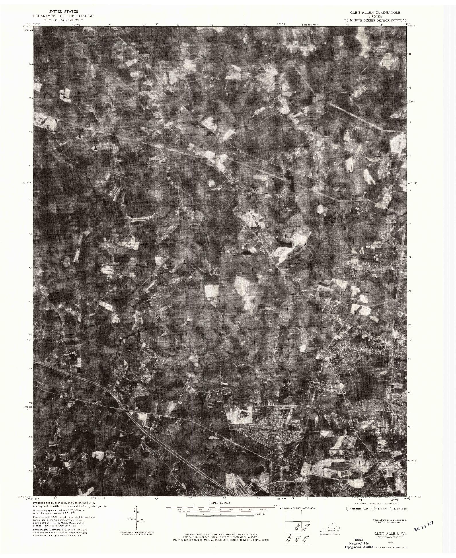 USGS 1:24000-SCALE QUADRANGLE FOR GLEN ALLEN, VA 1974