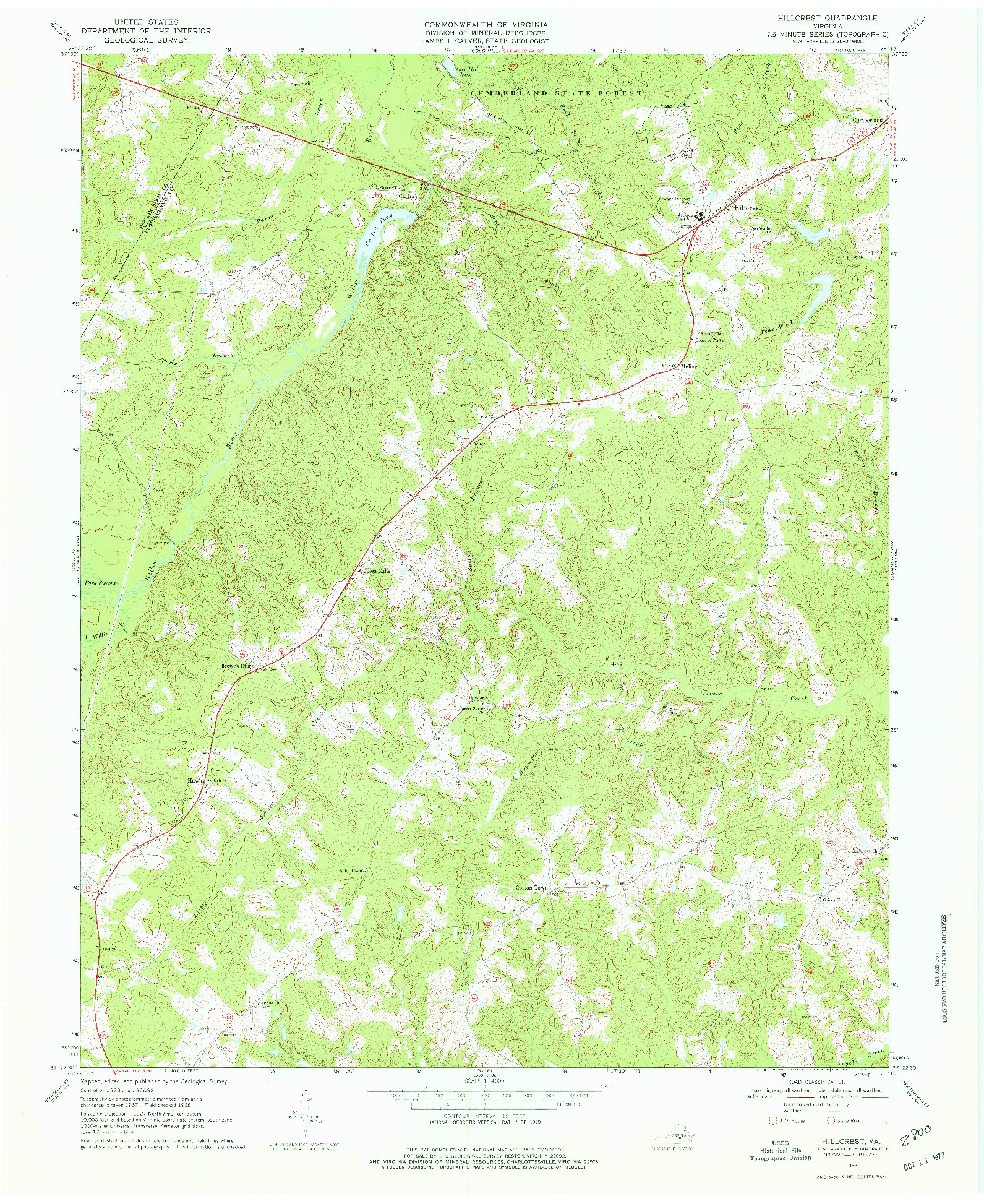 USGS 1:24000-SCALE QUADRANGLE FOR HILLCREST, VA 1968
