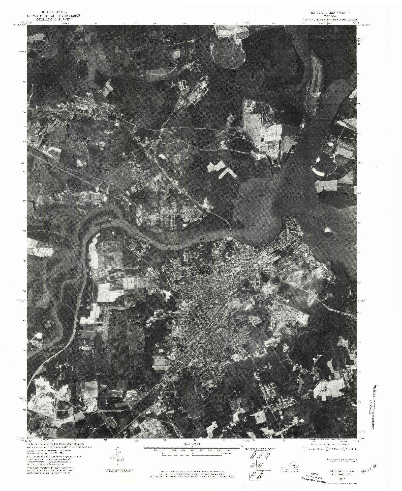 USGS 1:24000-SCALE QUADRANGLE FOR HOPEWELL, VA 1974