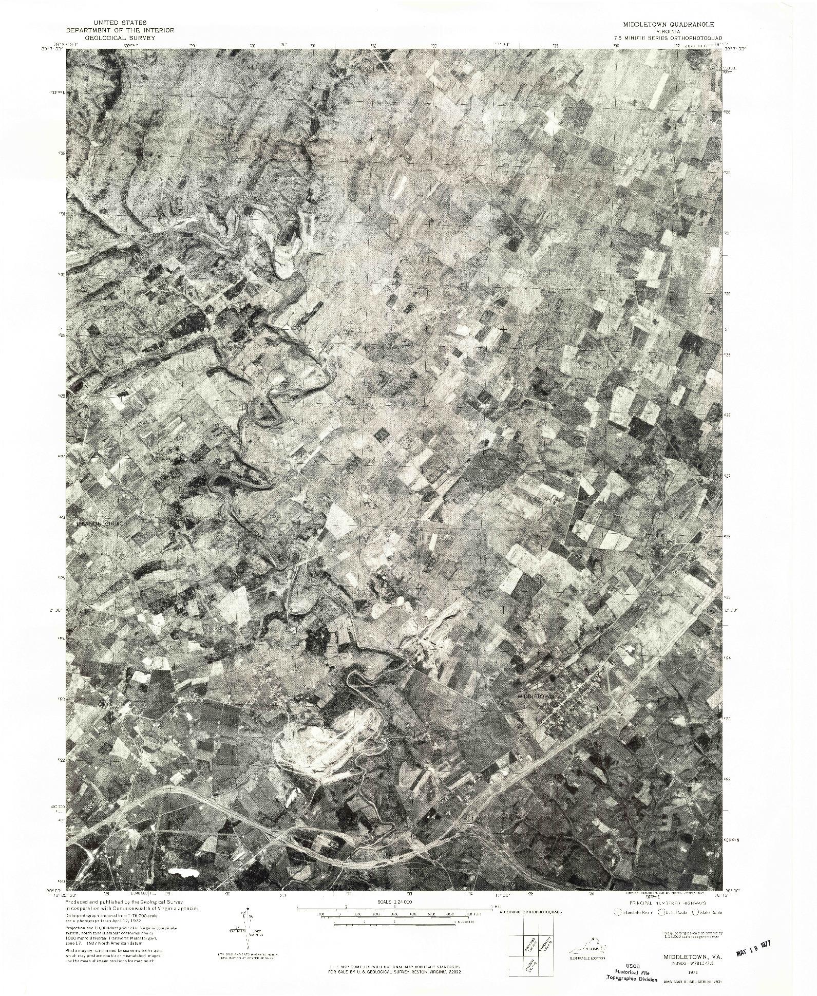USGS 1:24000-SCALE QUADRANGLE FOR MIDDLETOWN, VA 1972