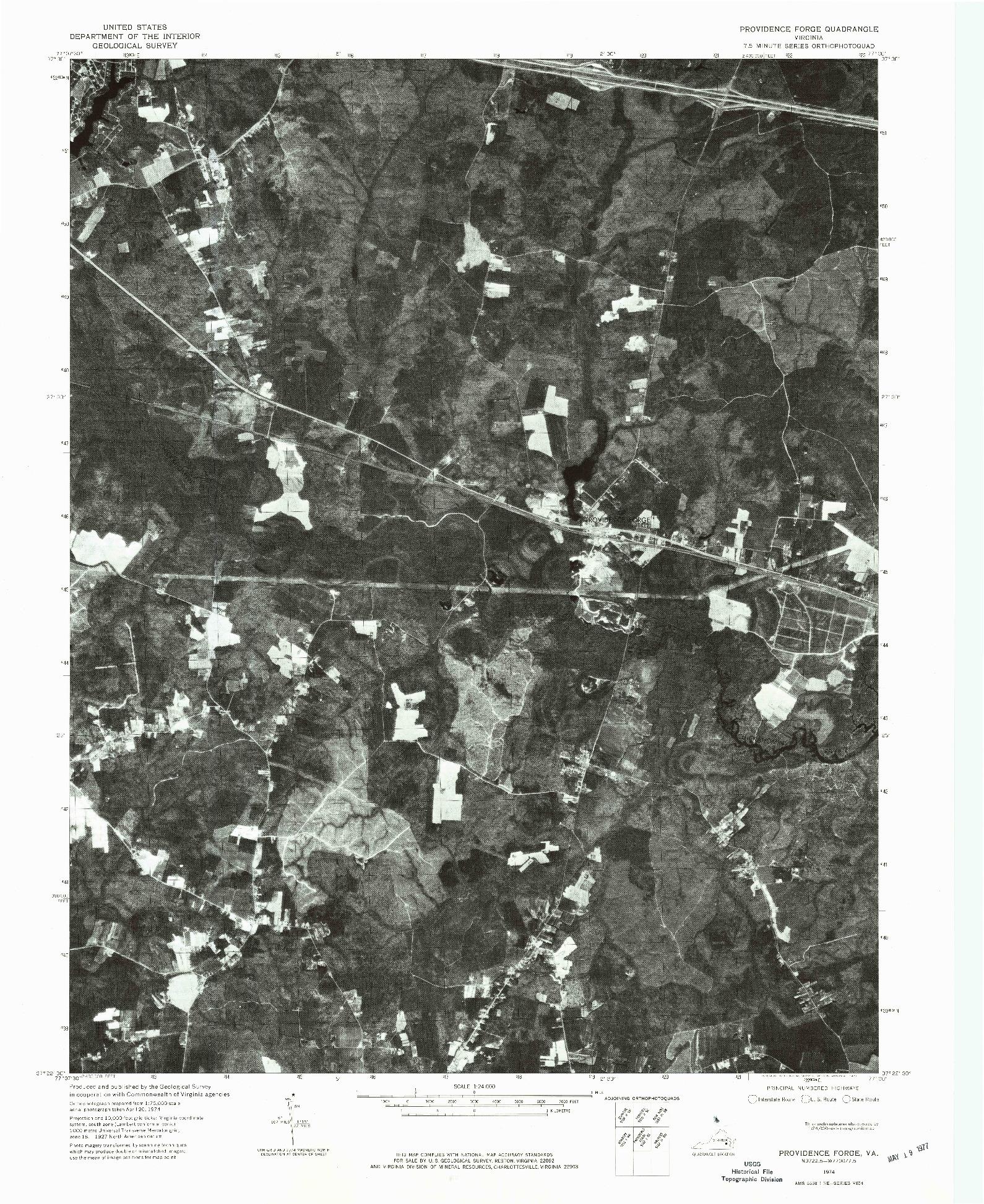 USGS 1:24000-SCALE QUADRANGLE FOR PROVIDENCE FORGE, VA 1974