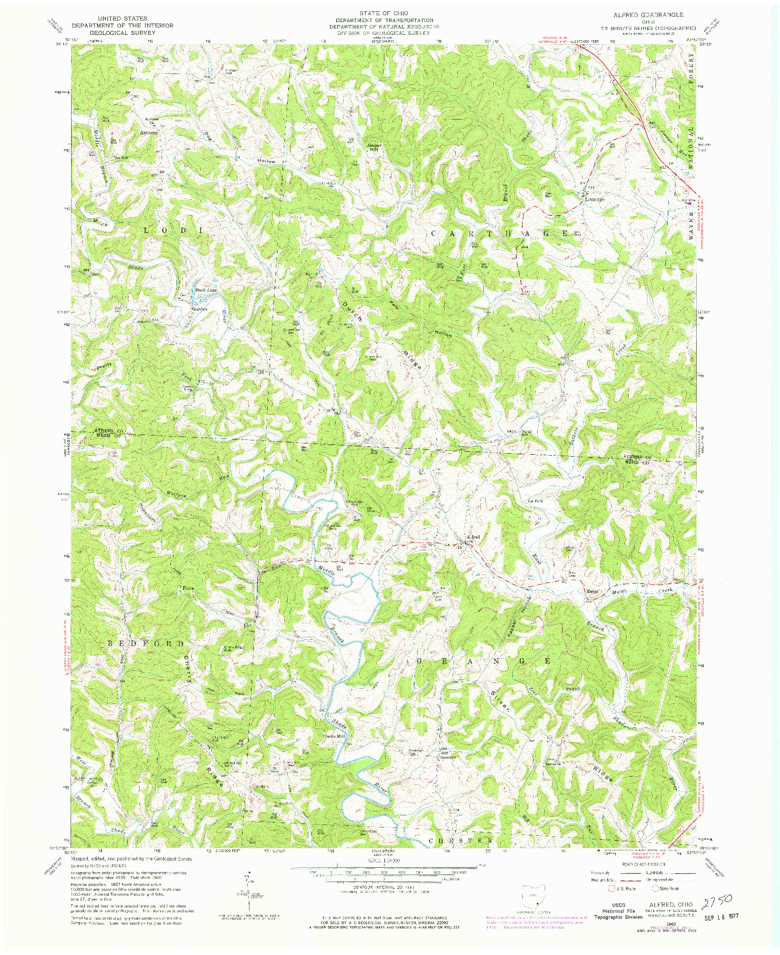 USGS 1:24000-SCALE QUADRANGLE FOR ALFRED, OH 1960