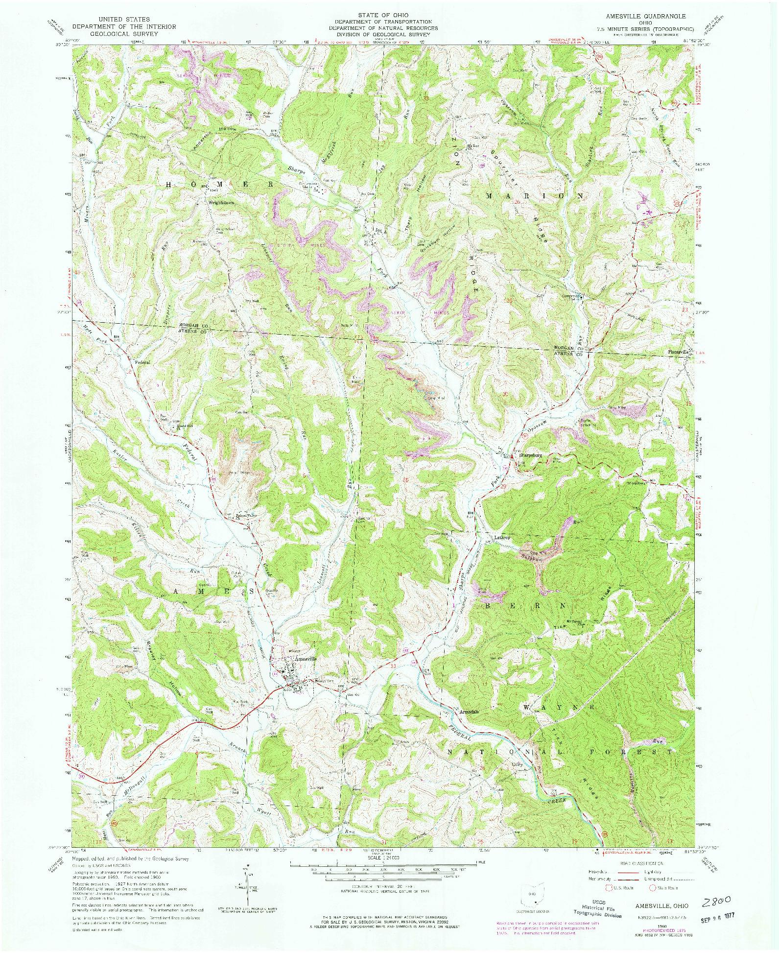 USGS 1:24000-SCALE QUADRANGLE FOR AMESVILLE, OH 1960