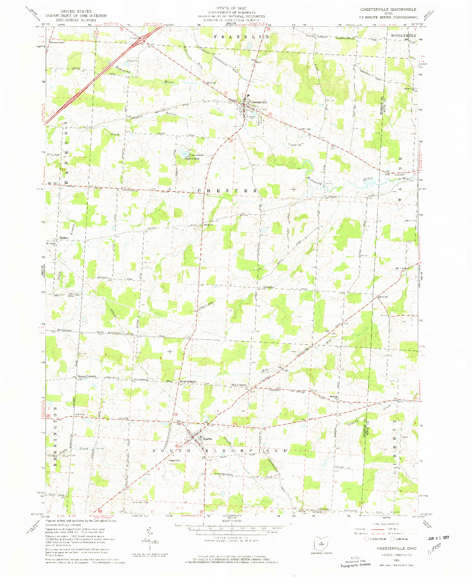 USGS 1:24000-SCALE QUADRANGLE FOR CHESTERVILLE, OH 1961