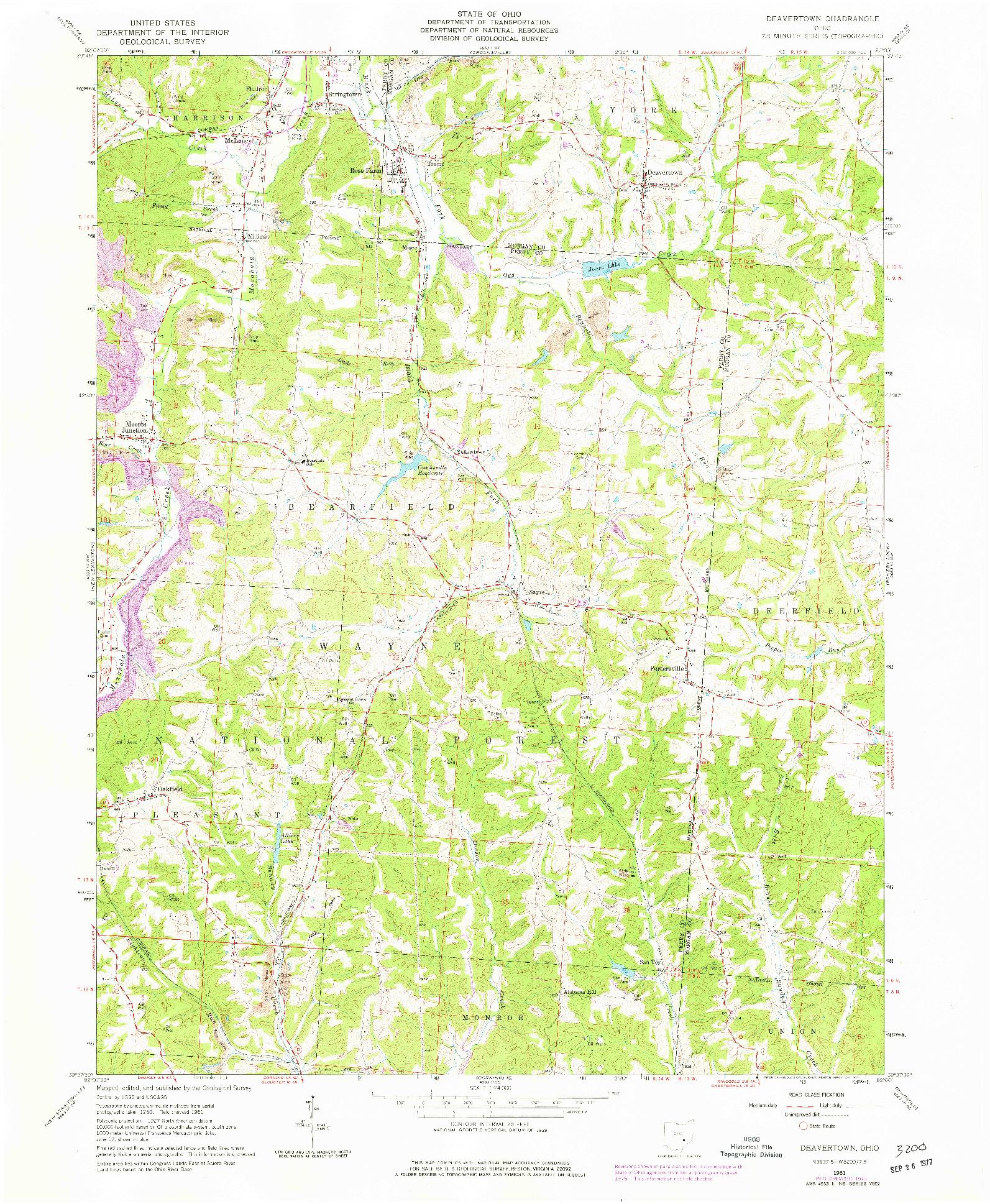 USGS 1:24000-SCALE QUADRANGLE FOR DEAVERTOWN, OH 1961