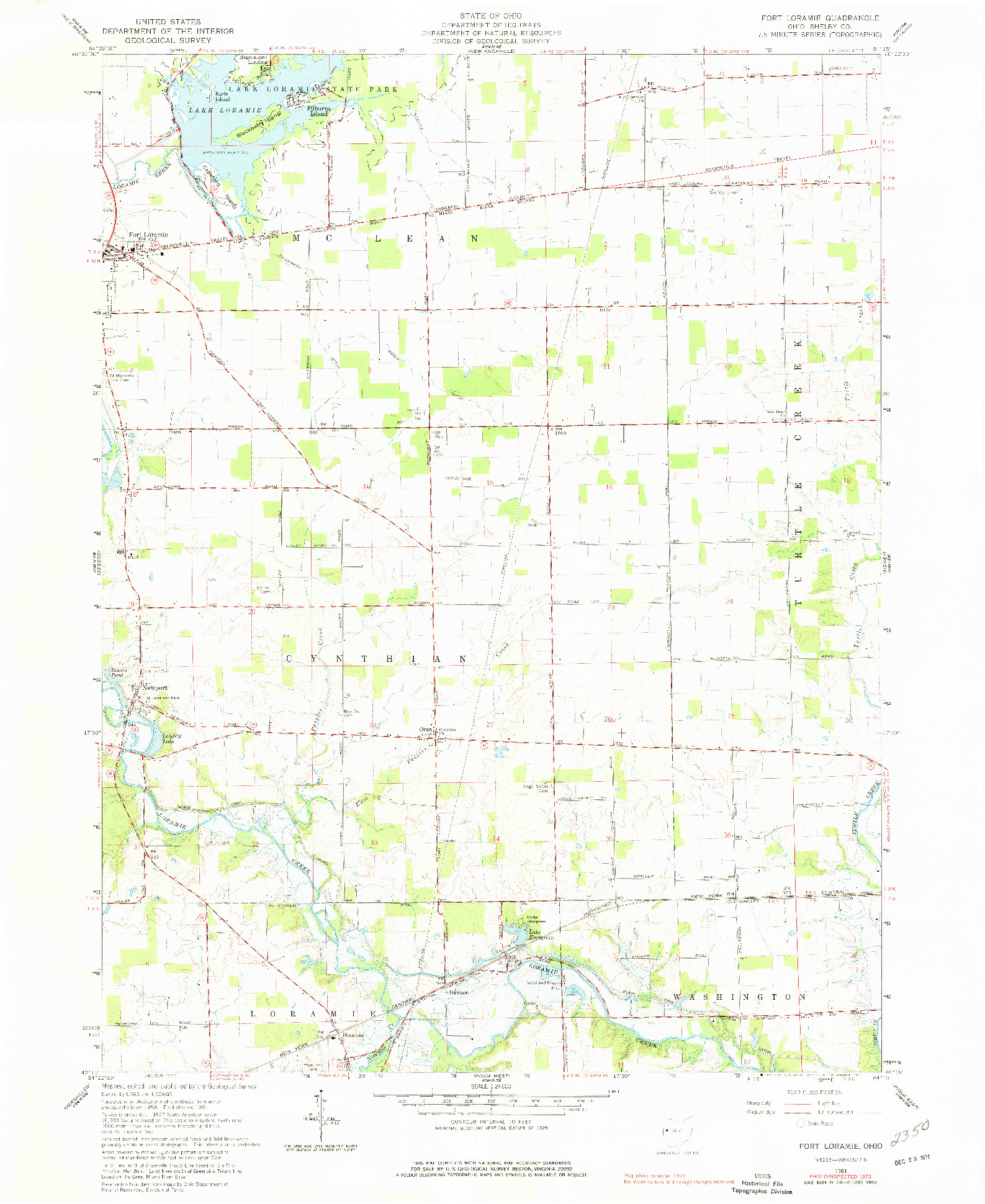 USGS 1:24000-SCALE QUADRANGLE FOR FORT LORAMIE, OH 1961