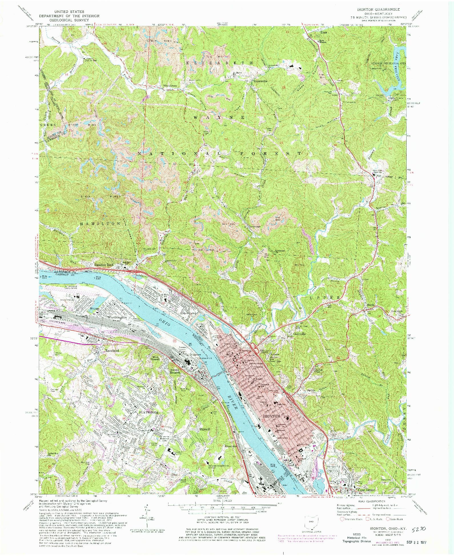 USGS 1:24000-SCALE QUADRANGLE FOR IRONTON, OH 1972