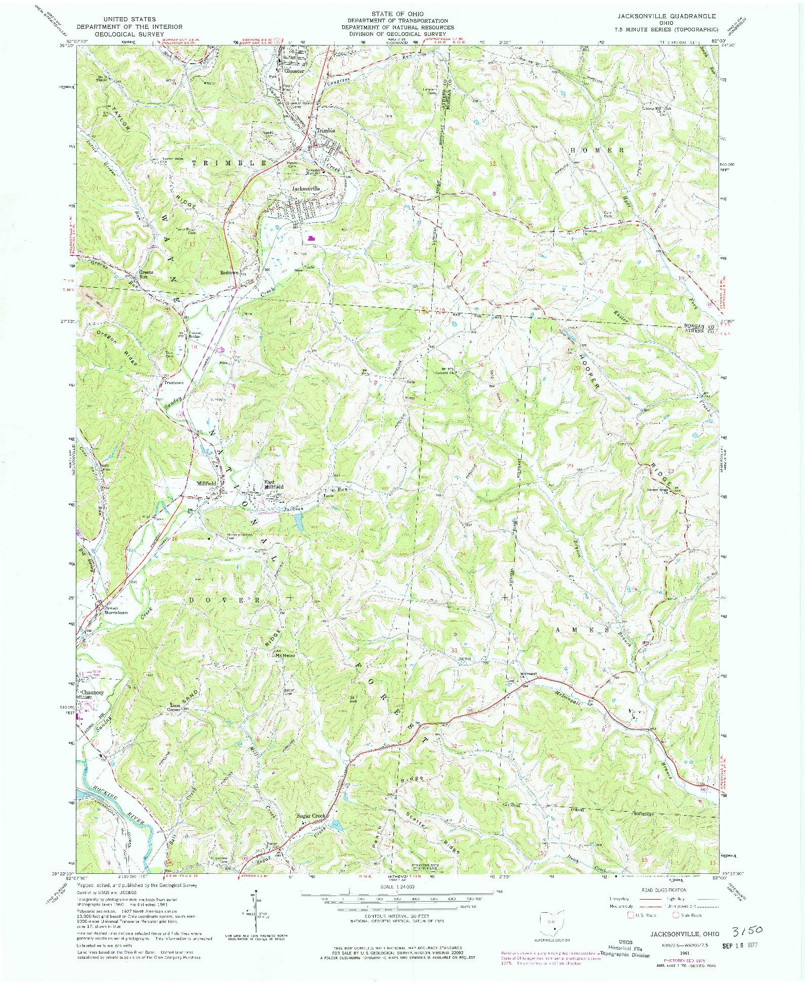 USGS 1:24000-SCALE QUADRANGLE FOR JACKSONVILLE, OH 1961