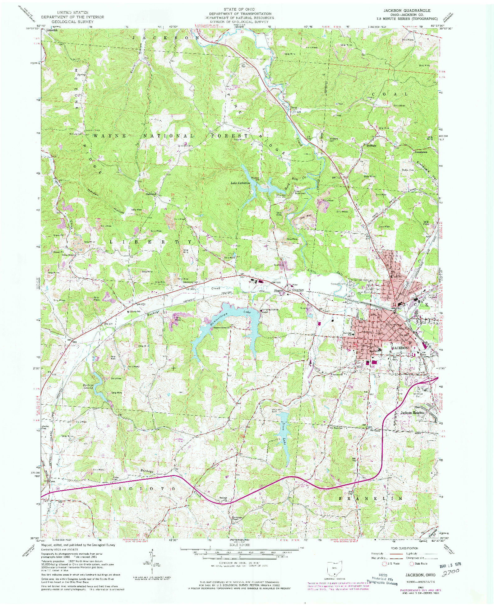 USGS 1:24000-SCALE QUADRANGLE FOR JACKSON, OH 1961