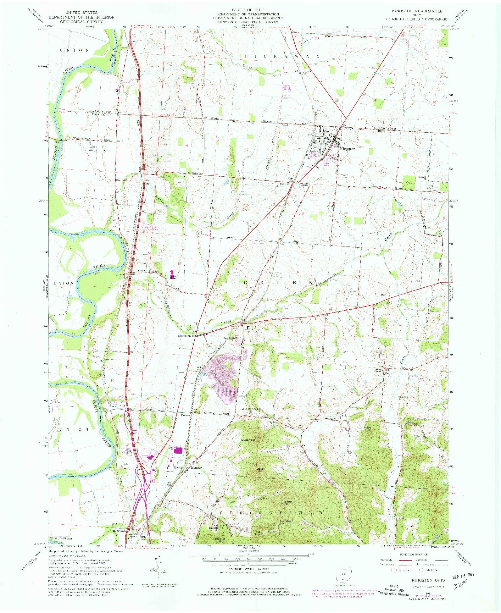 USGS 1:24000-SCALE QUADRANGLE FOR KINGSTON, OH 1961