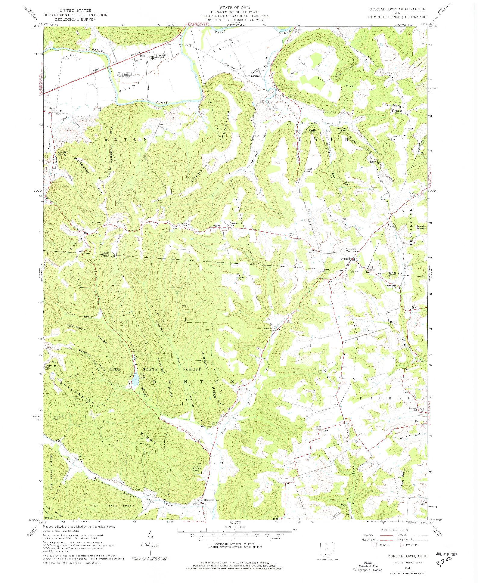 USGS 1:24000-SCALE QUADRANGLE FOR MORGANTOWN, OH 1961