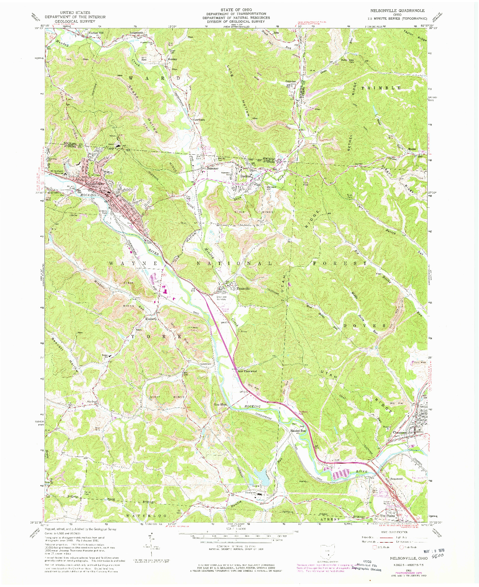 USGS 1:24000-SCALE QUADRANGLE FOR NELSONVILLE, OH 1961
