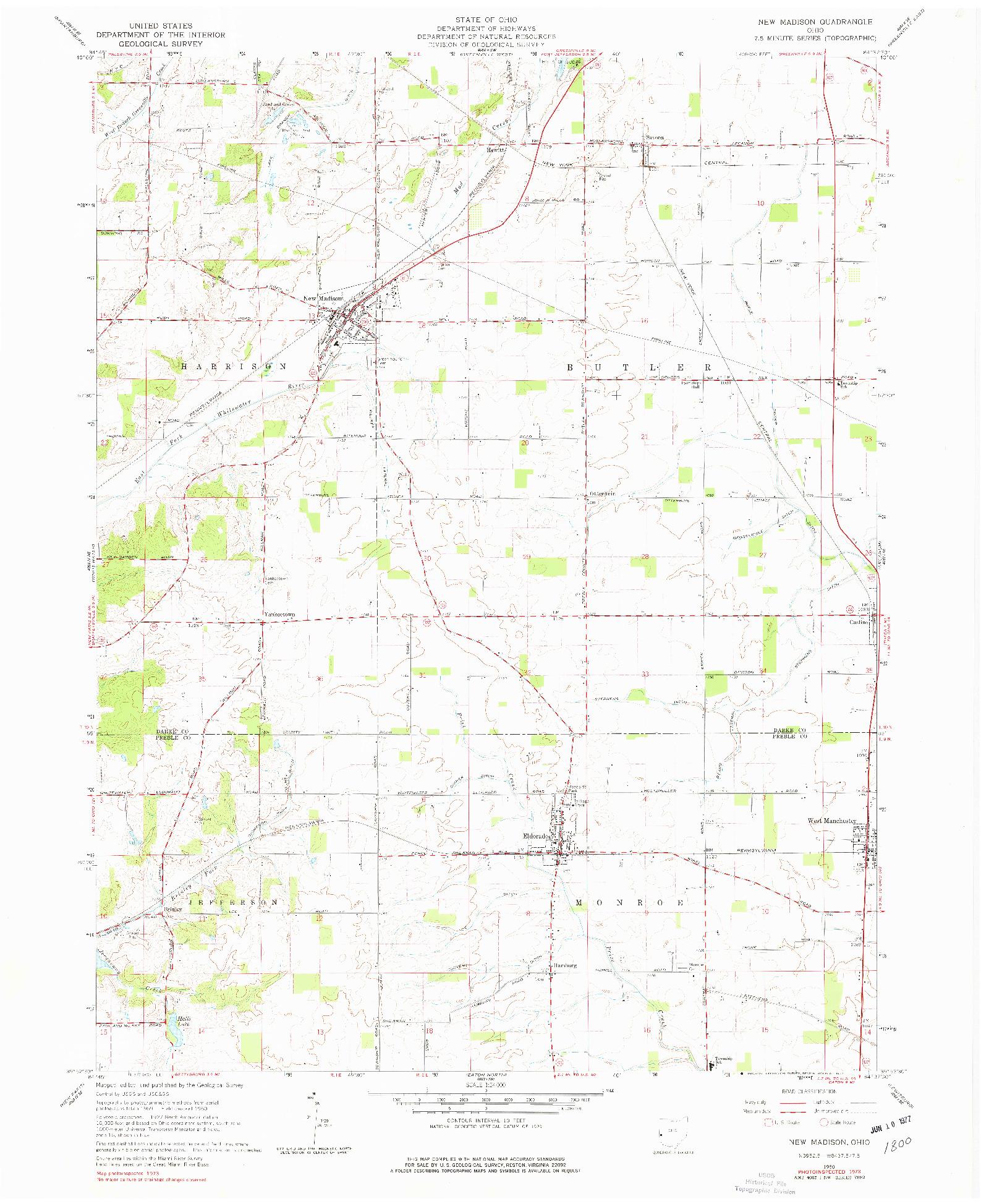 USGS 1:24000-SCALE QUADRANGLE FOR NEW MADISON, OH 1960