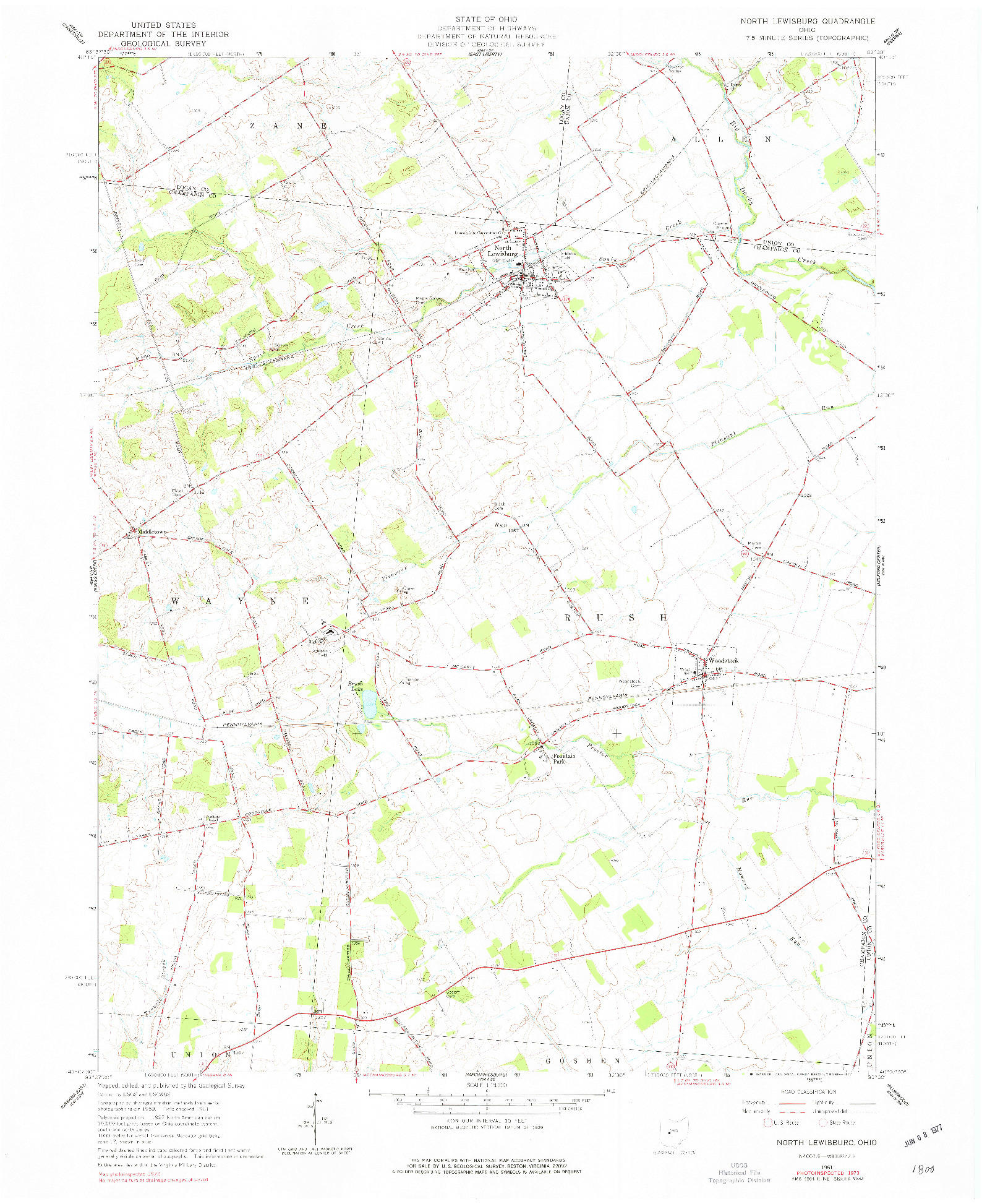 USGS 1:24000-SCALE QUADRANGLE FOR NORTH LEWISBURG, OH 1961