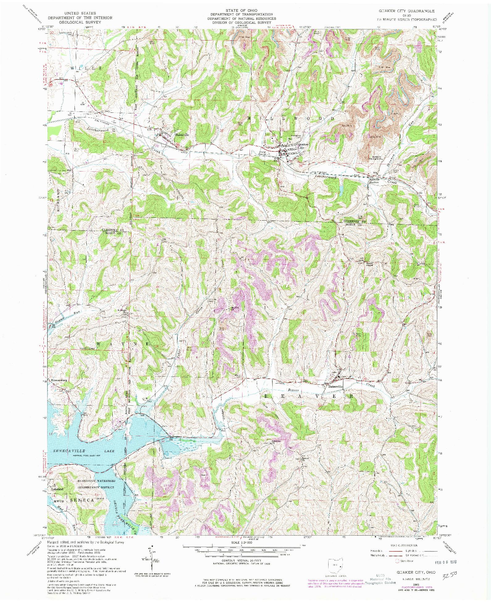 USGS 1:24000-SCALE QUADRANGLE FOR QUAKER CITY, OH 1961