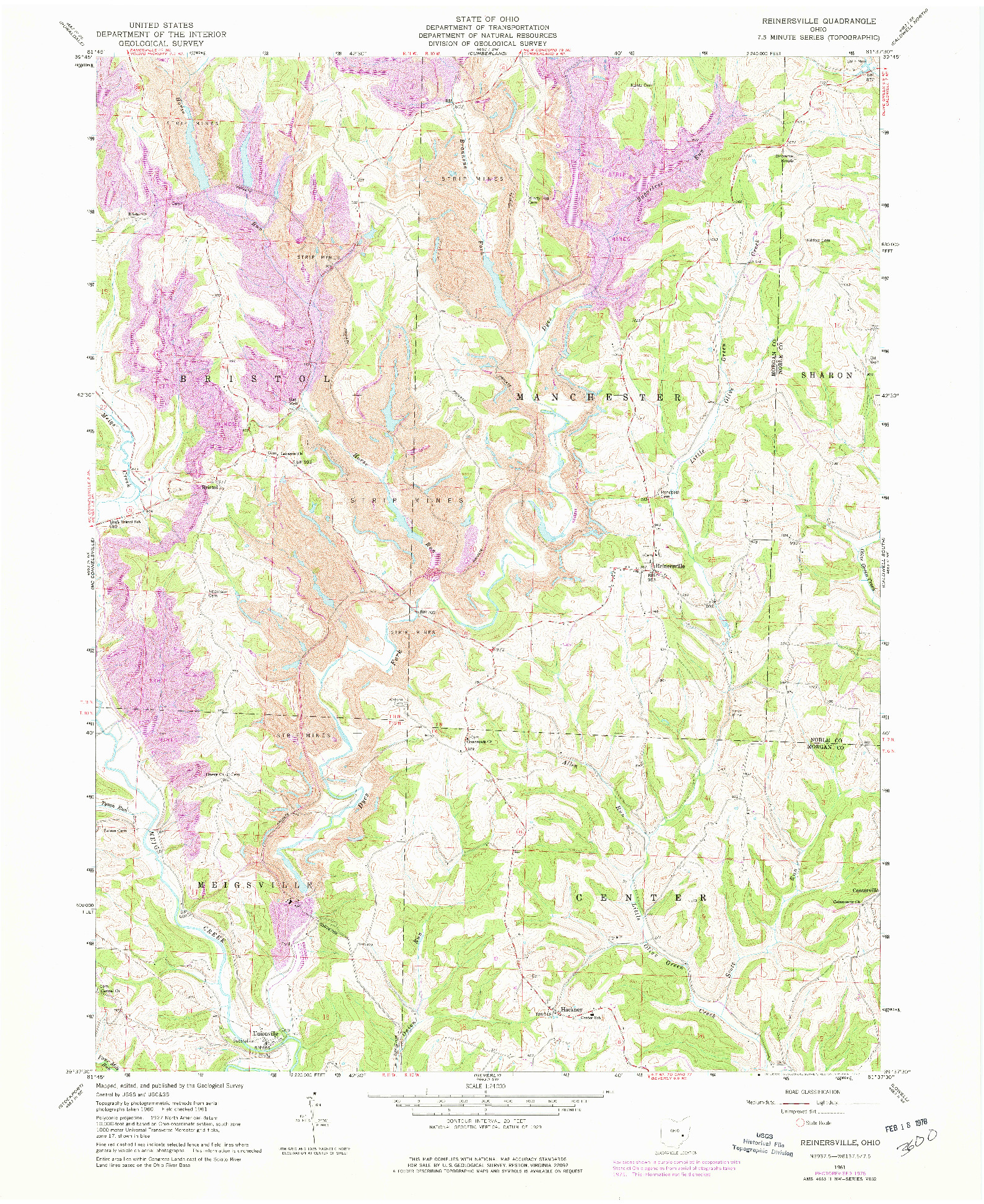 USGS 1:24000-SCALE QUADRANGLE FOR REINERSVILLE, OH 1961