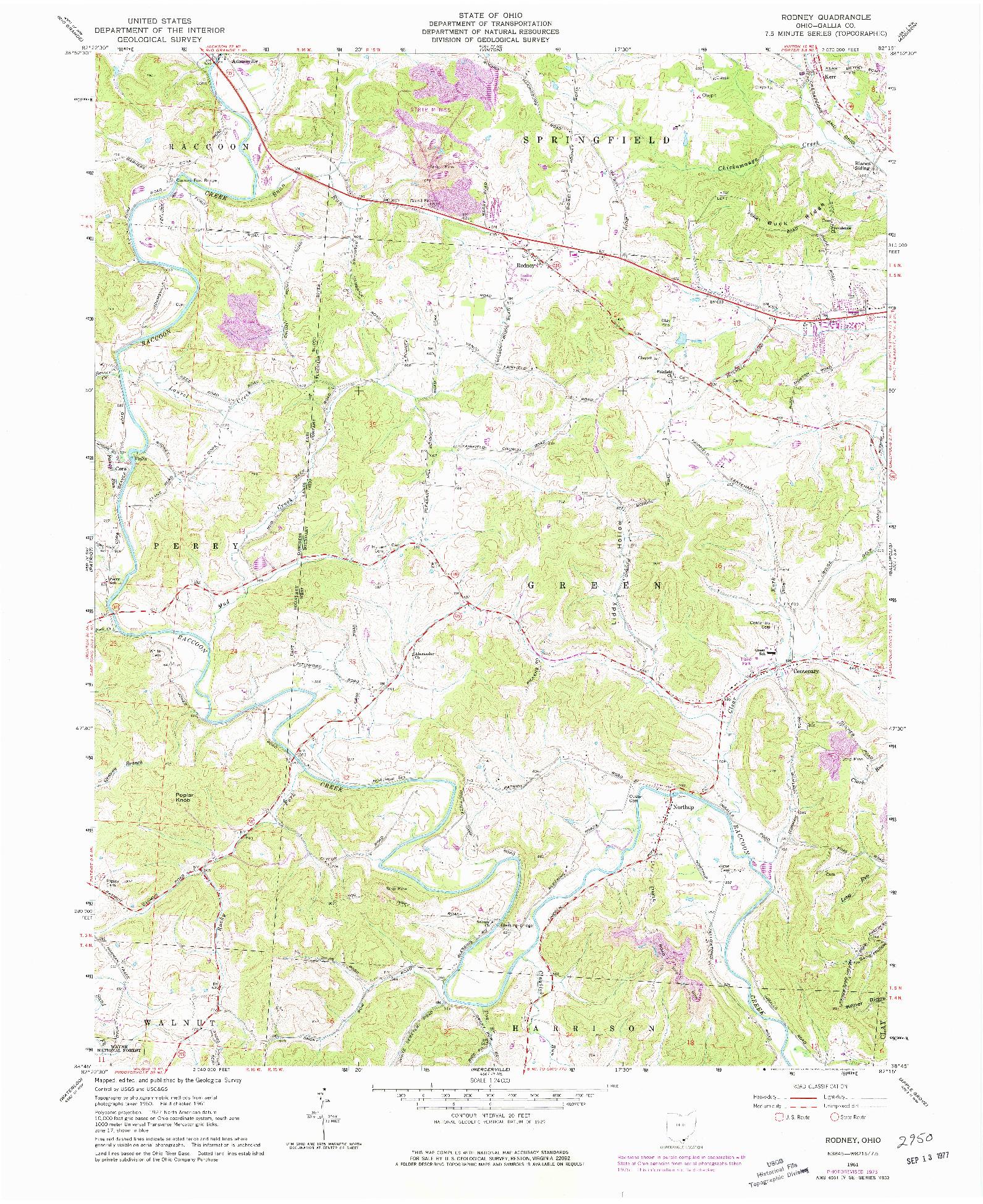 USGS 1:24000-SCALE QUADRANGLE FOR RODNEY, OH 1975