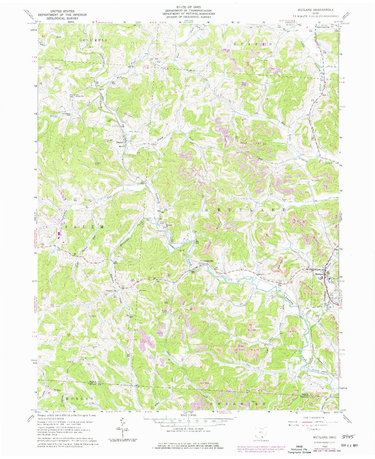USGS 1:24000-SCALE QUADRANGLE FOR RUTLAND, OH 1960