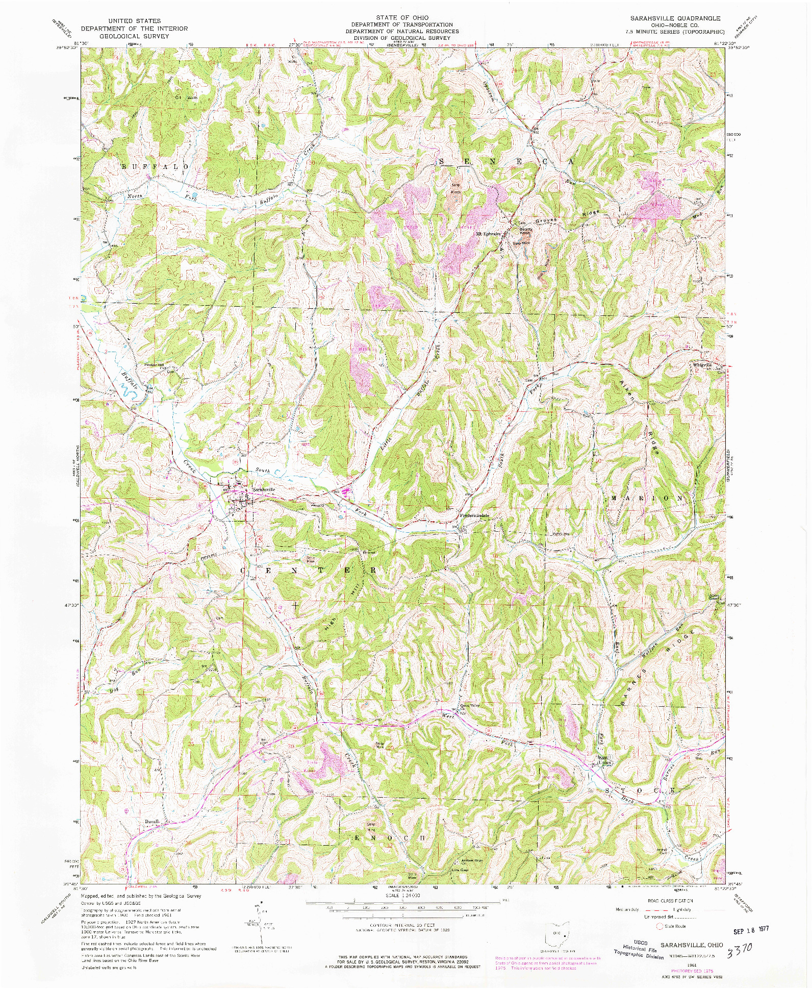 USGS 1:24000-SCALE QUADRANGLE FOR SARAHSVILLE, OH 1961