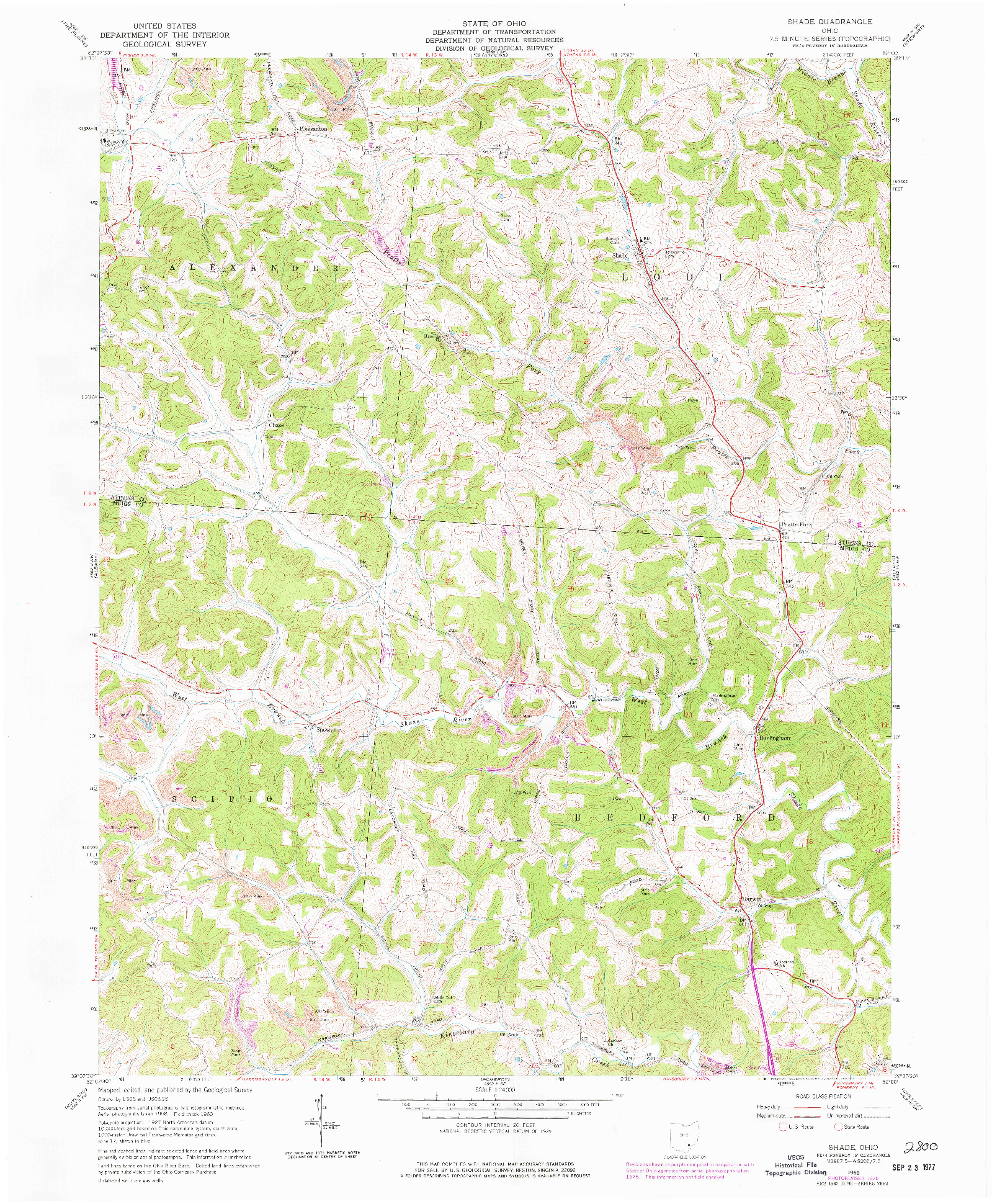 USGS 1:24000-SCALE QUADRANGLE FOR SHADE, OH 1960