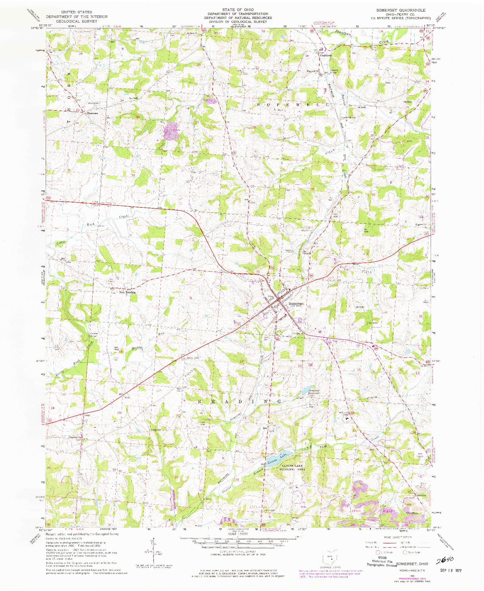 USGS 1:24000-SCALE QUADRANGLE FOR SOMERSET, OH 1961