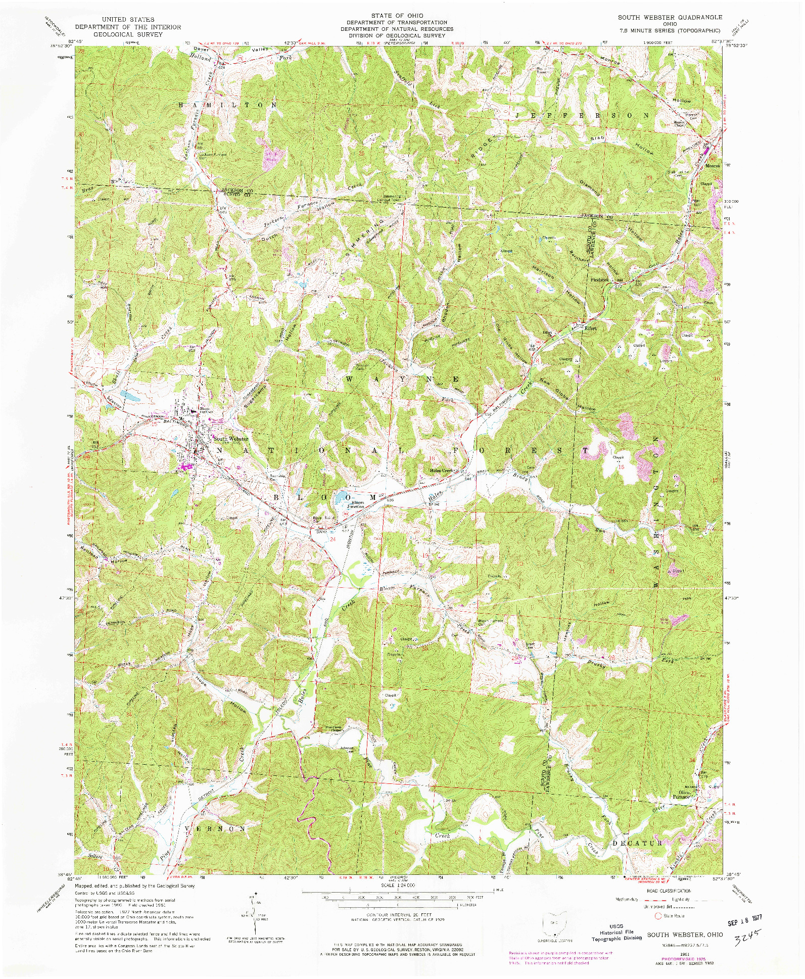 USGS 1:24000-SCALE QUADRANGLE FOR SOUTH WEBSTER, OH 1961