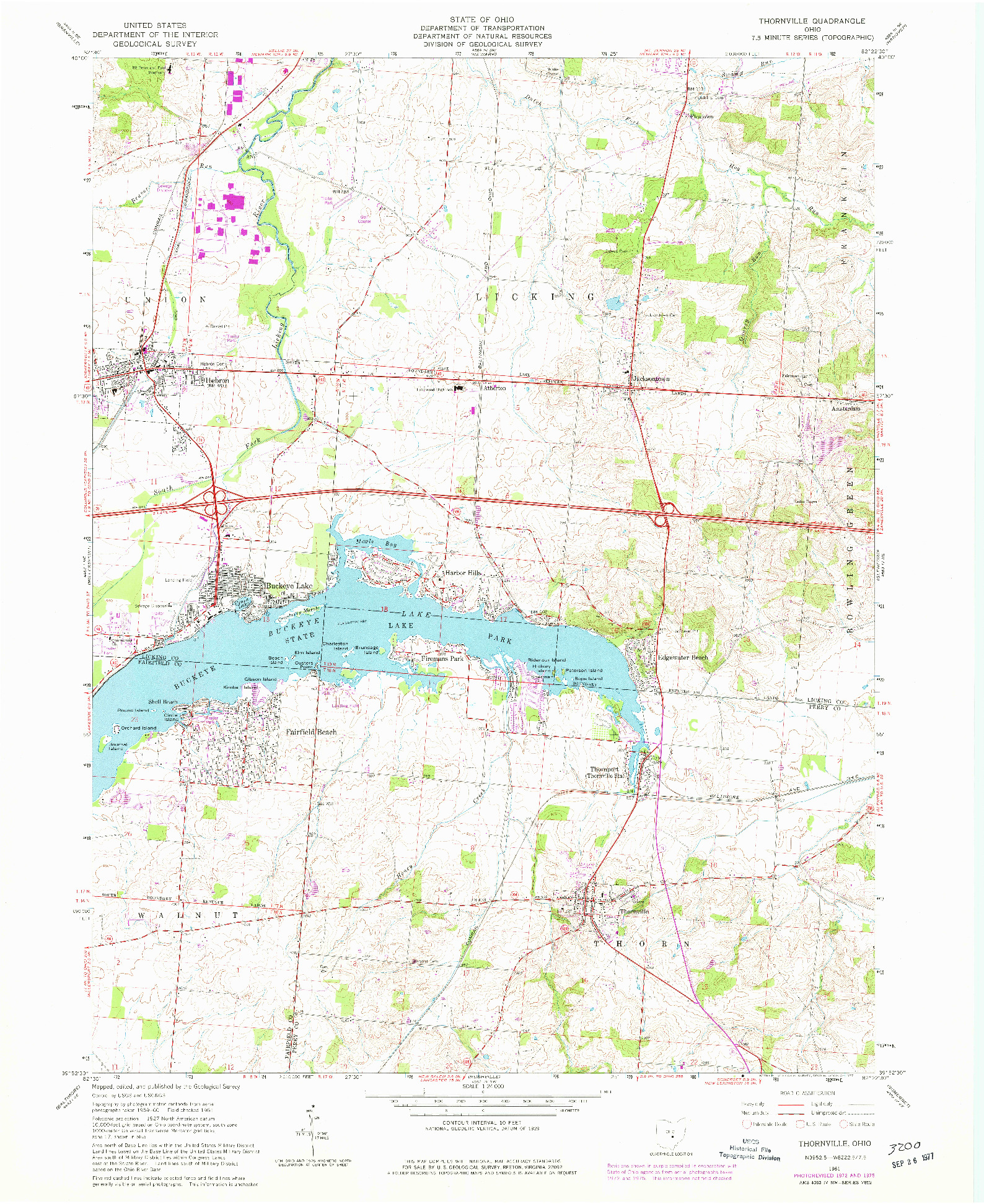 USGS 1:24000-SCALE QUADRANGLE FOR THORNVILLE, OH 1961