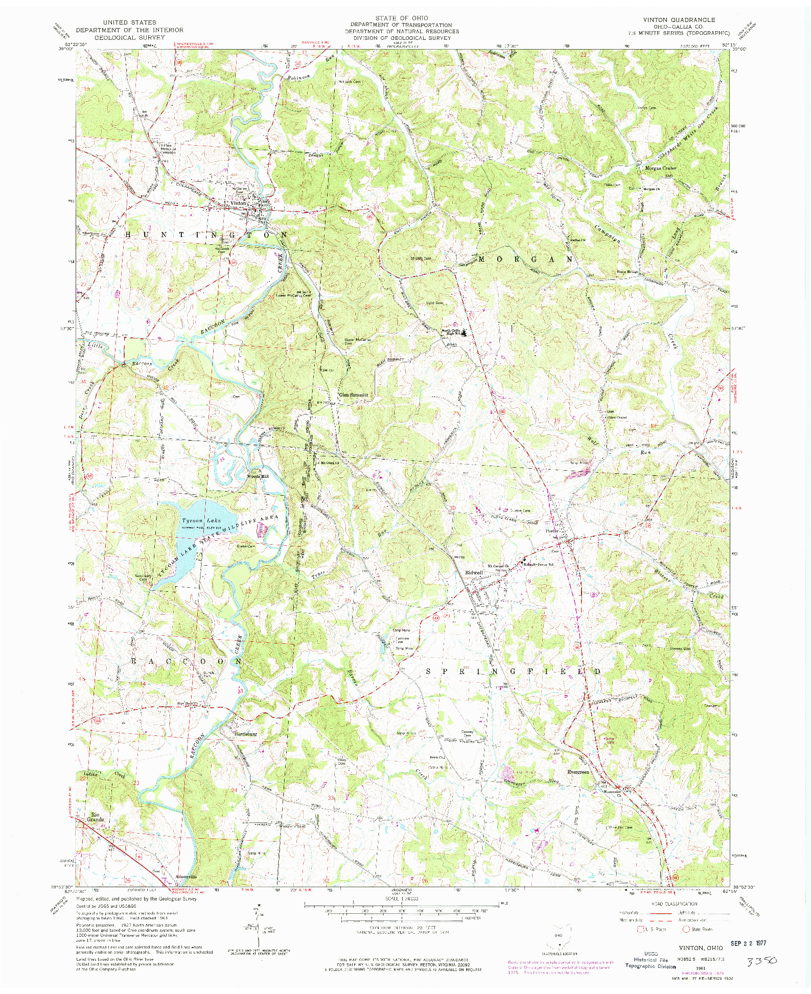 USGS 1:24000-SCALE QUADRANGLE FOR VINTON, OH 1961
