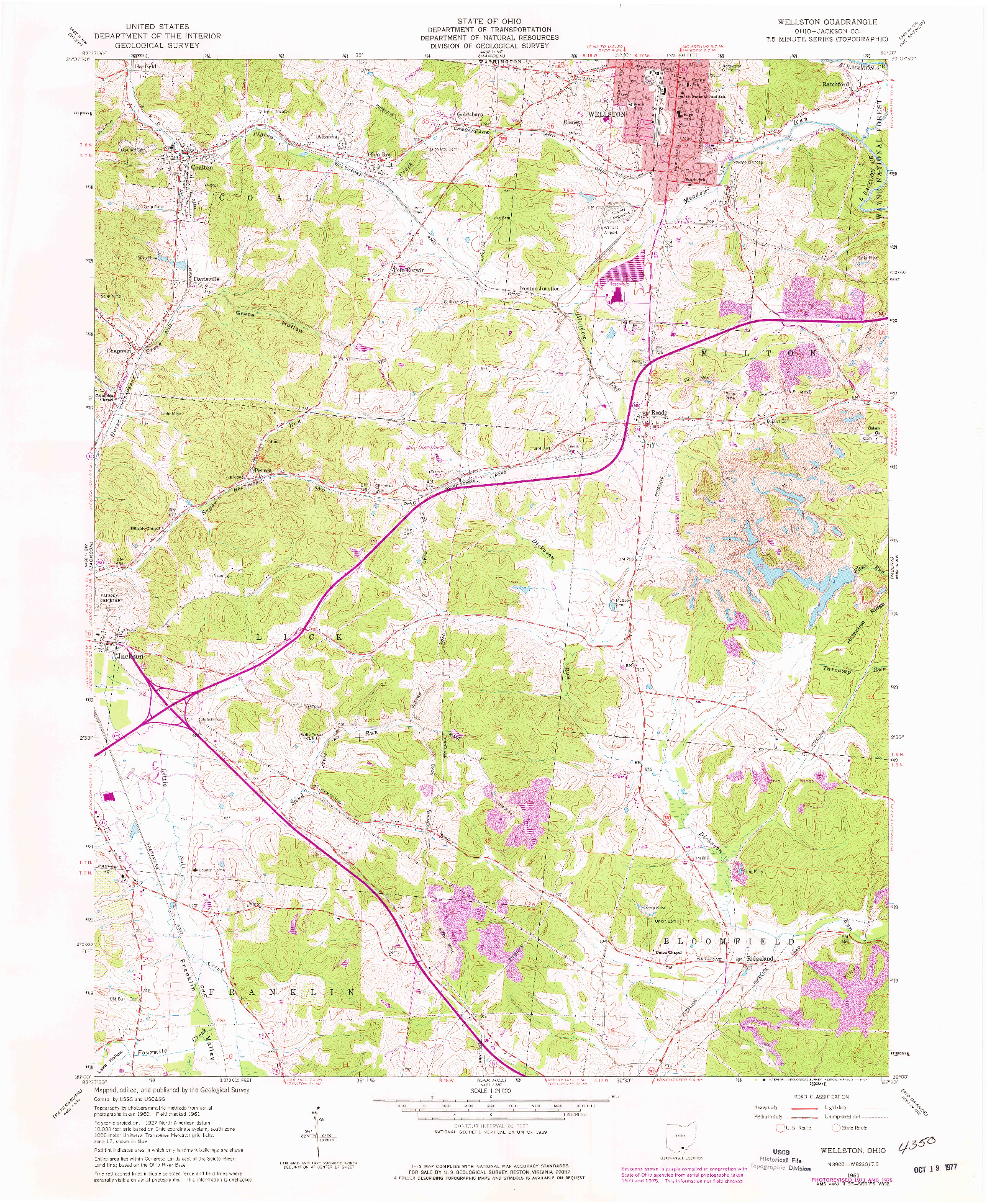 USGS 1:24000-SCALE QUADRANGLE FOR WELLSTON, OH 1961