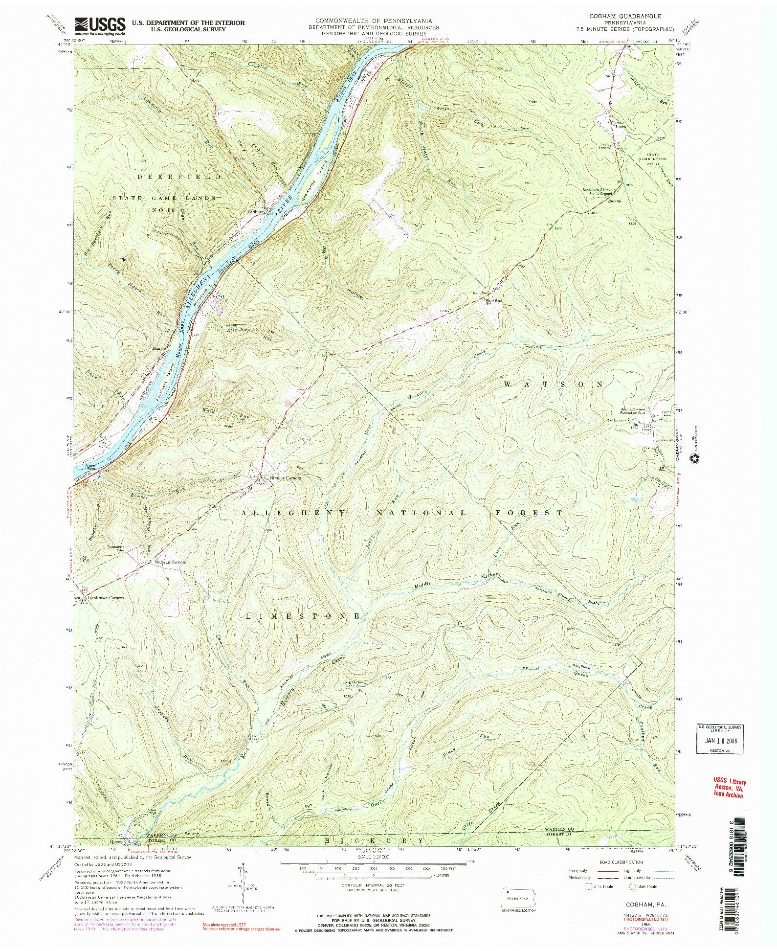 USGS 1:24000-SCALE QUADRANGLE FOR COBHAM, PA 1966