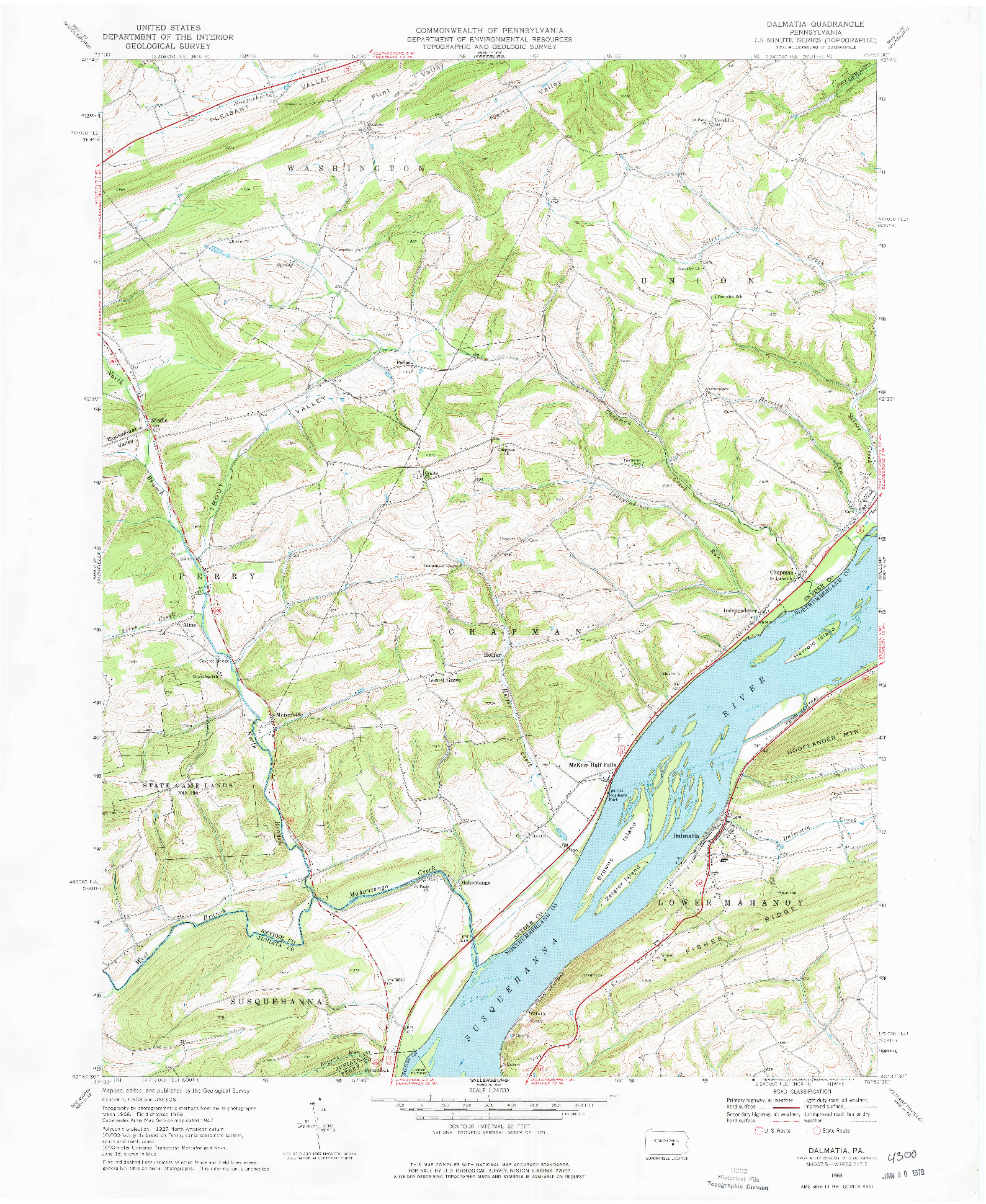 USGS 1:24000-SCALE QUADRANGLE FOR DALMATIA, PA 1969
